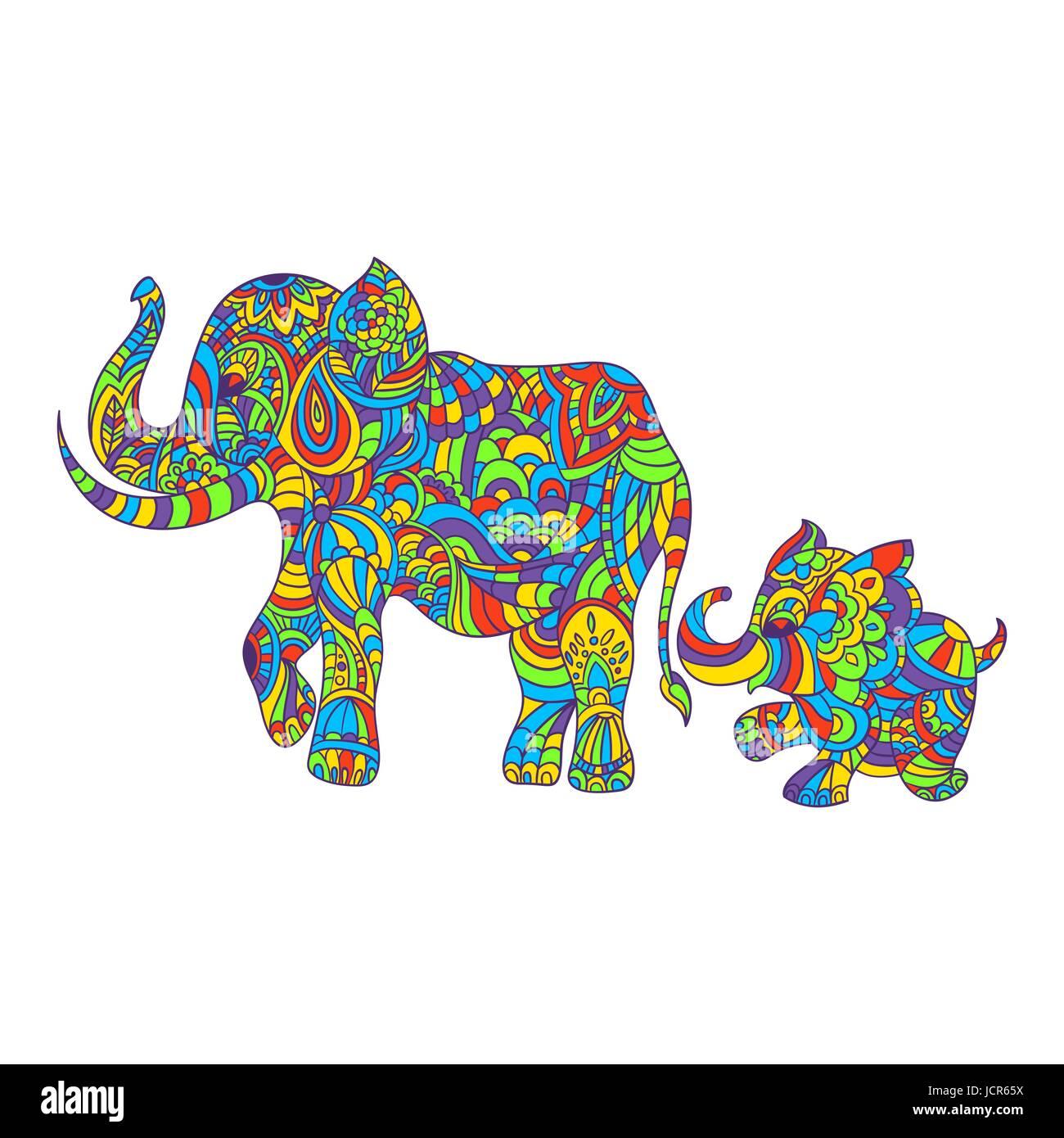 Vektor bunte handgezeichnete Zentagle Abbildung eines Elefanten und ...