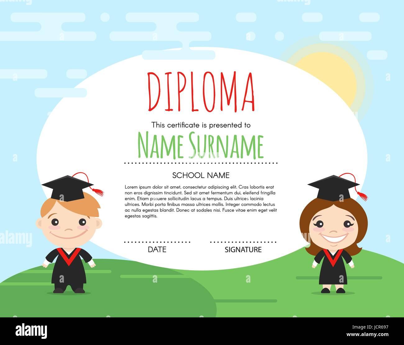 Template School Diploma Children Stockfotos & Template School ...