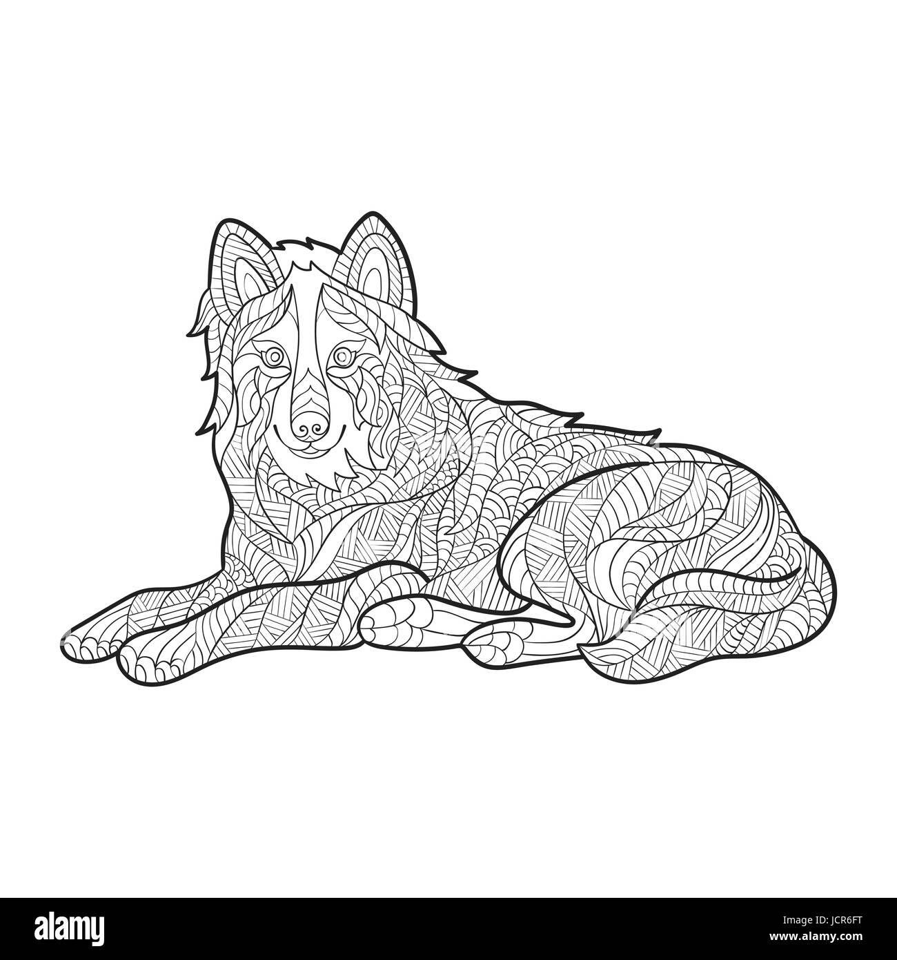 Vektor monochrome handgezeichneten Zentagle Abbildung von Wolf ...