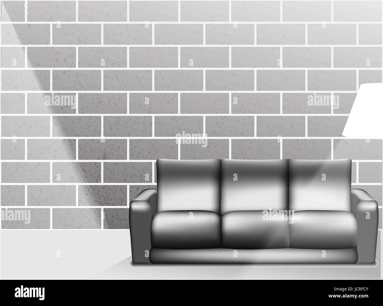 Wohnzimmer Innenraum mit weißen Sofa und Steinblock in ...