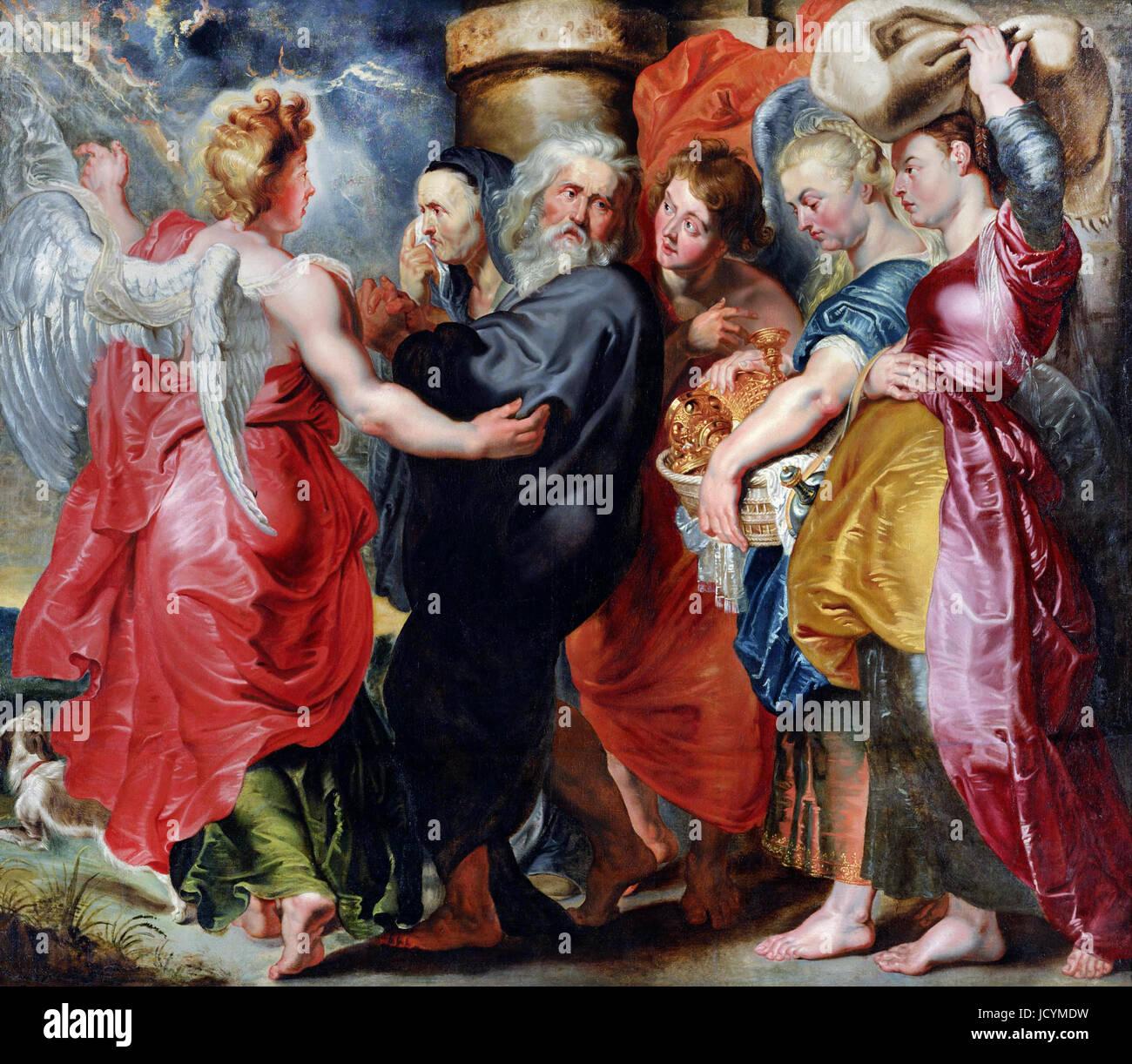 Jacob Jordaens, die Flucht von Lot und seiner Familie aus Sodom (nach Rubens). Ca. 1618-20. Öl auf Leinwand. Stockbild