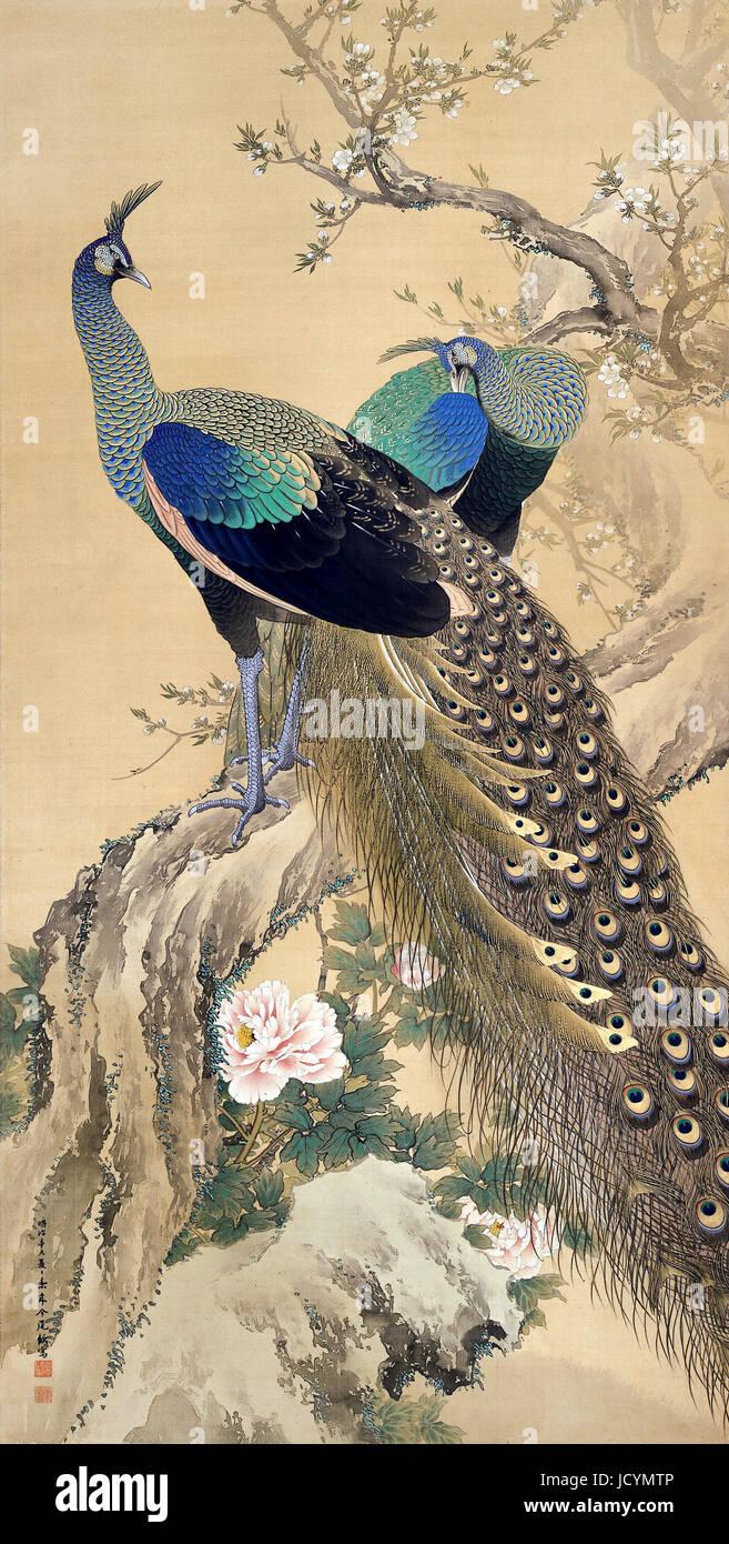 Imao Keinen, A Pair of Pfauen im Frühjahr 1901 Farbe auf Seide. Adachi Museum of Art, Yasugi, Japan. Stockbild