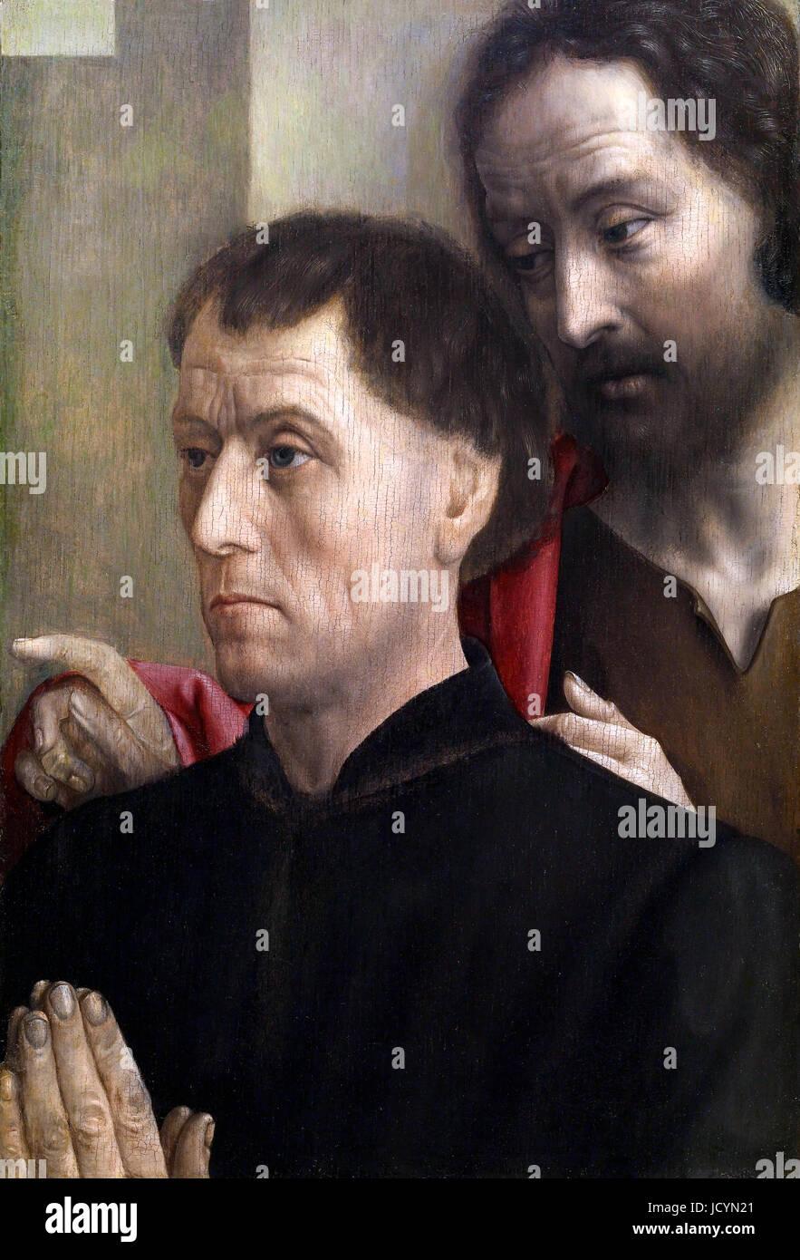 Hugo van der Goes, Porträt eines Mannes im Gebet mit dem Heiligen Johannes dem Täufer. Ca. 1475. Öl Stockbild