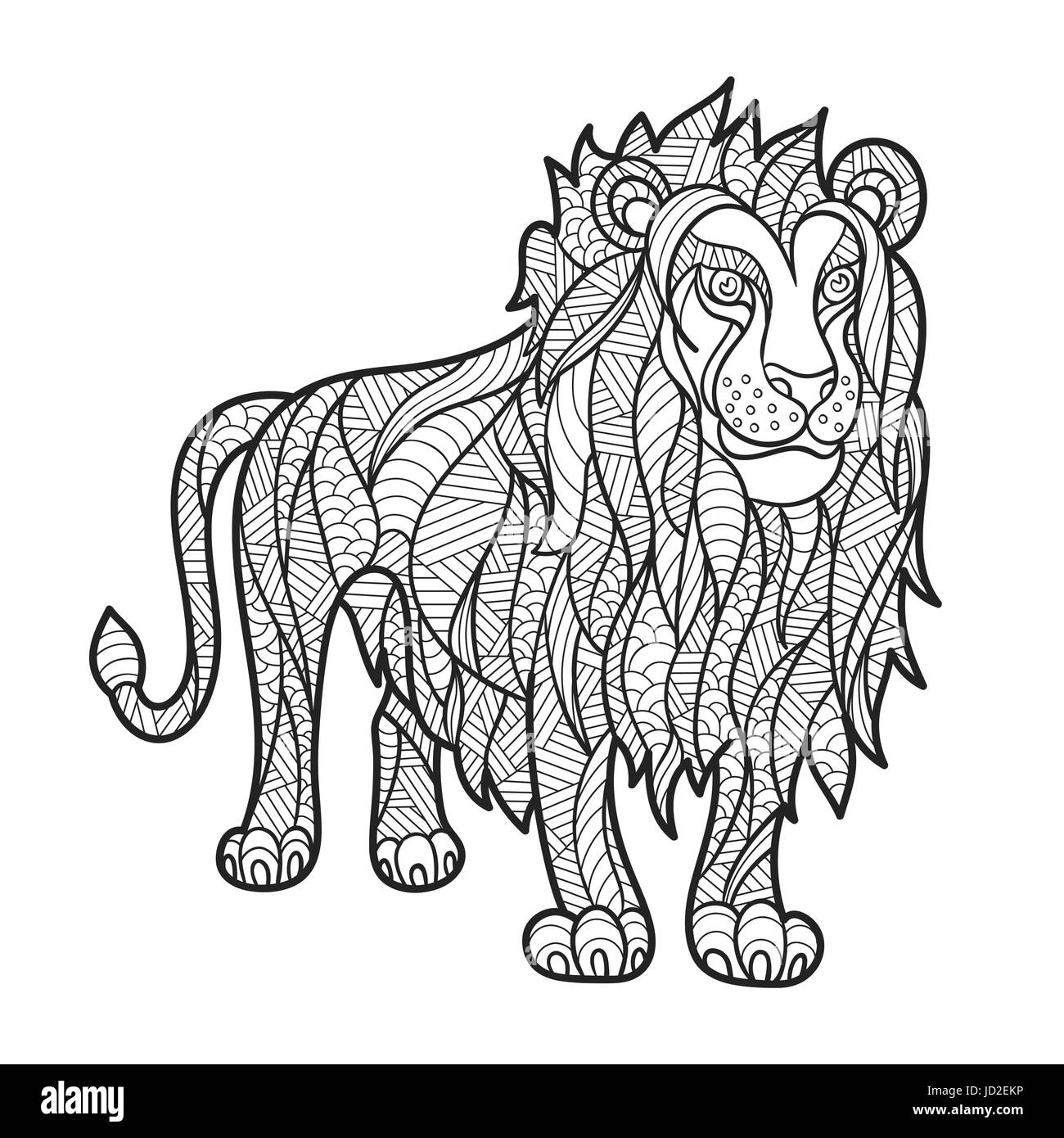 Vektor monochrome handgezeichneten Zentagle Abbildung des Löwen ...