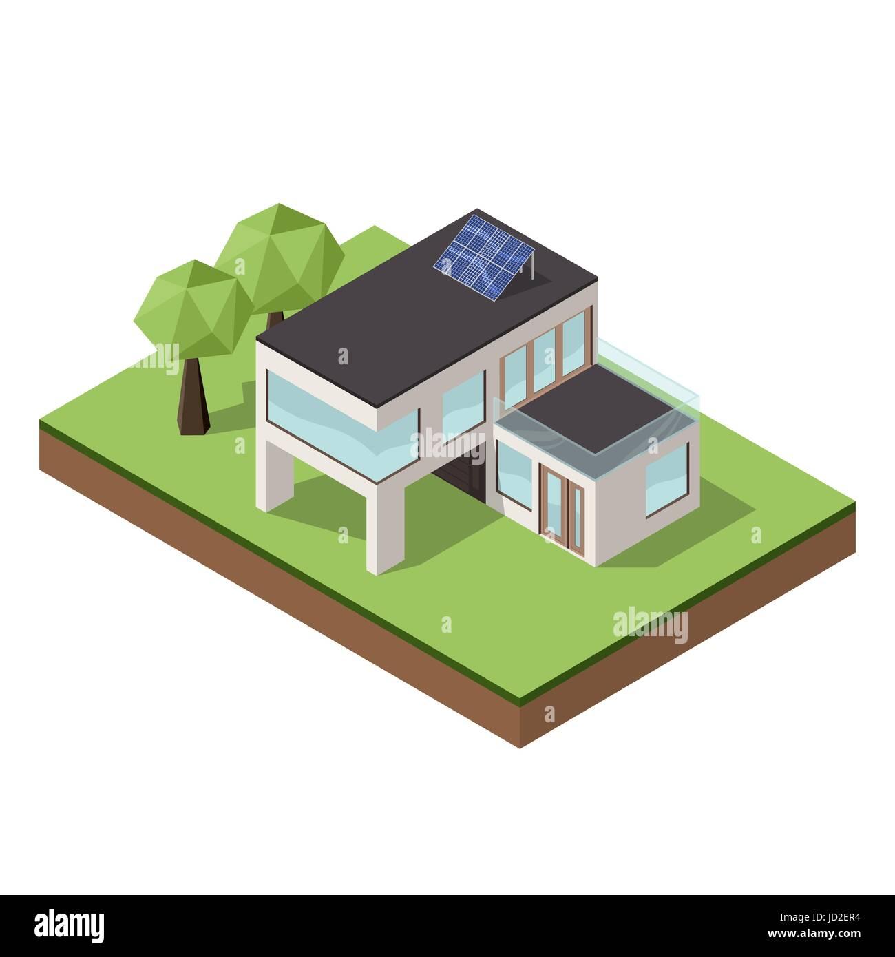 Vektor Illustration Von Isometrischen Große Private Moderne Hütte Oder Haus  Für Immobilien Broschüren Oder Web Symbol. Moderne Architektur Konzept.