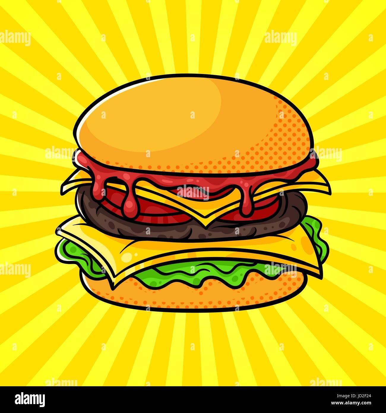 vektor handgezeichneten pop art darstellung der hamburger fast food retro stil gezeichnete. Black Bedroom Furniture Sets. Home Design Ideas
