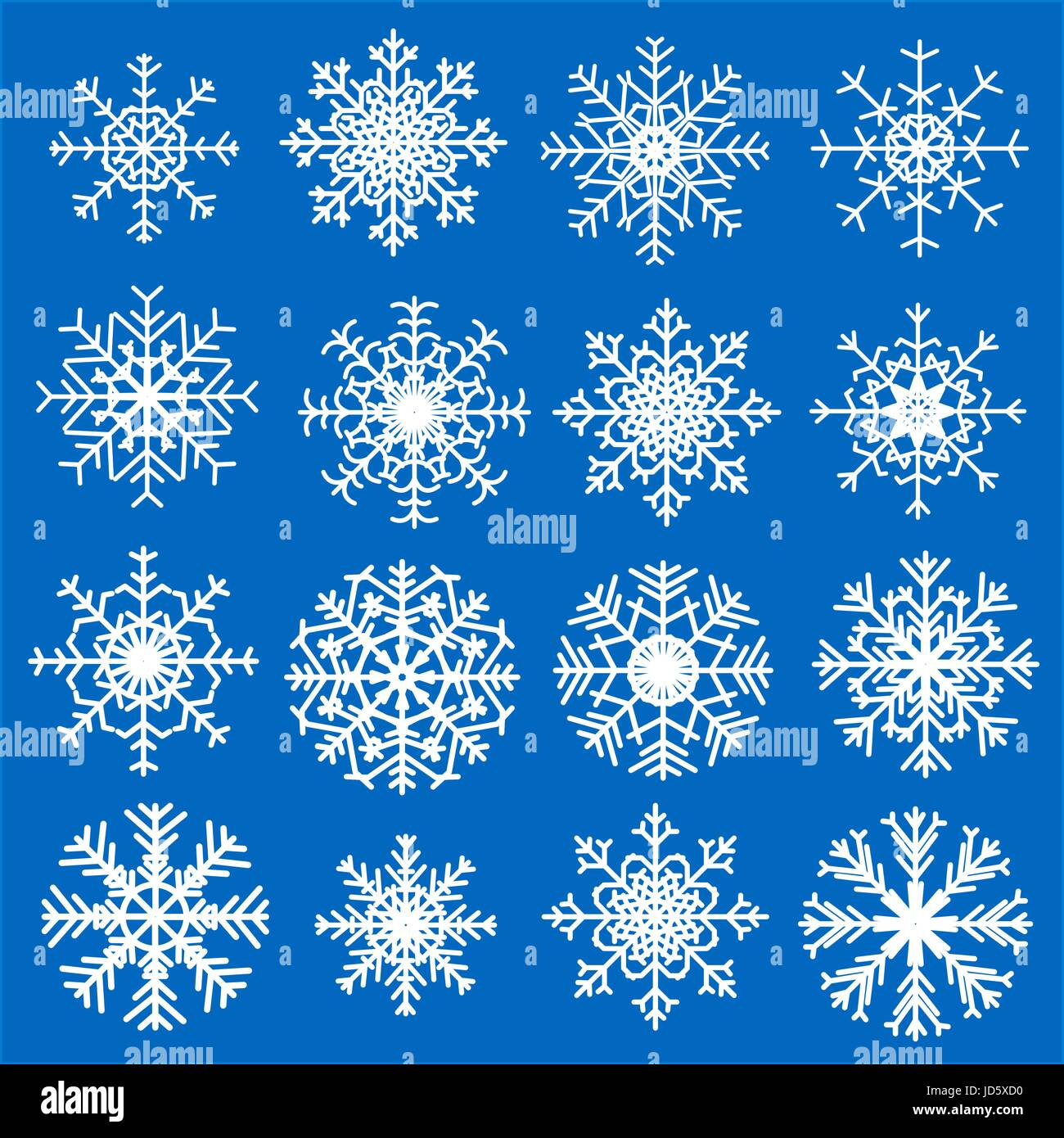 Satz von verschiedenen Schneeflocken für Weihnachten und Neujahr ...