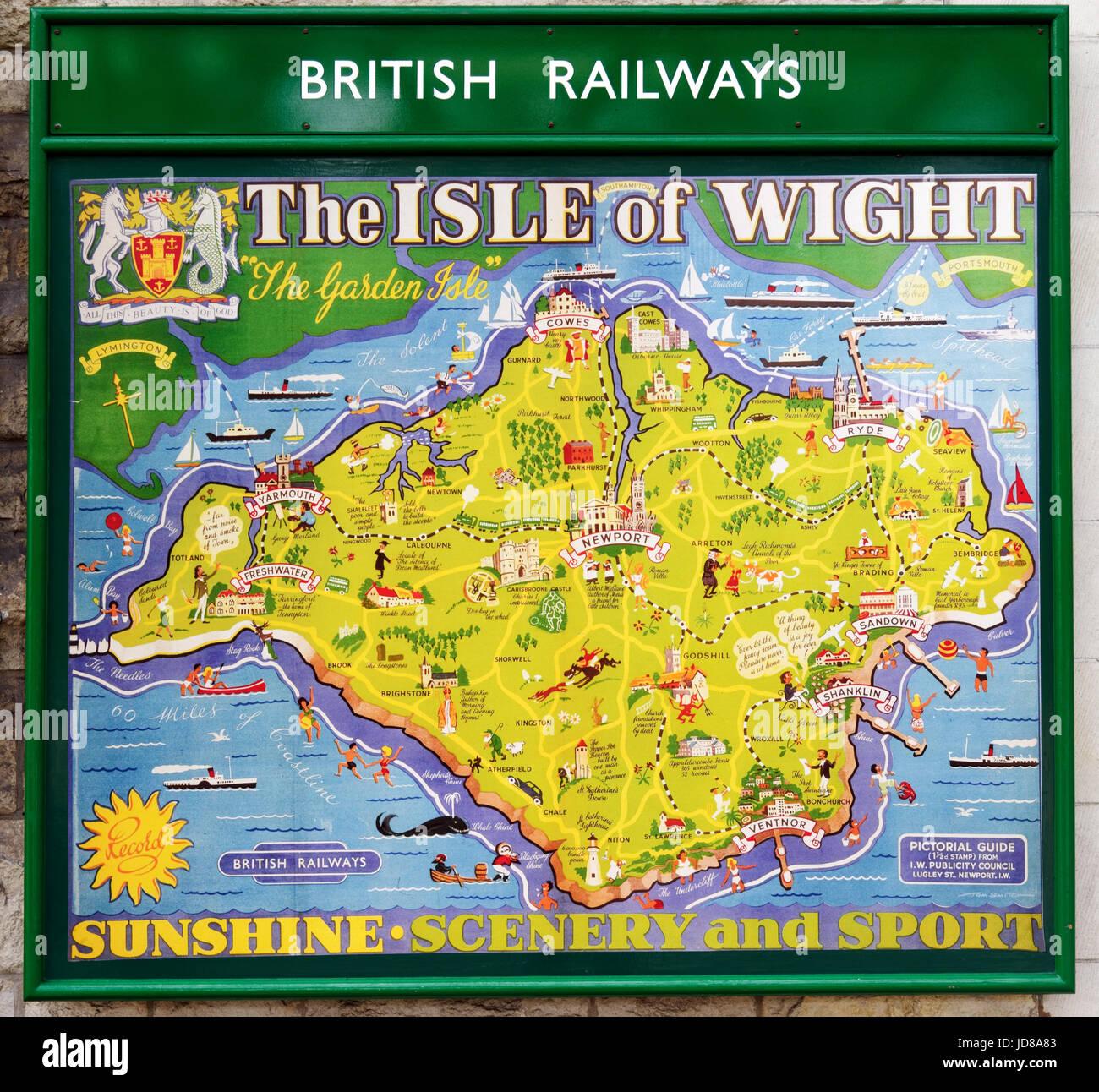 Alte 50er Jahre Stil British Railways Poster für die Isle of Wight auf der Swanage Steam Railway Stockfoto