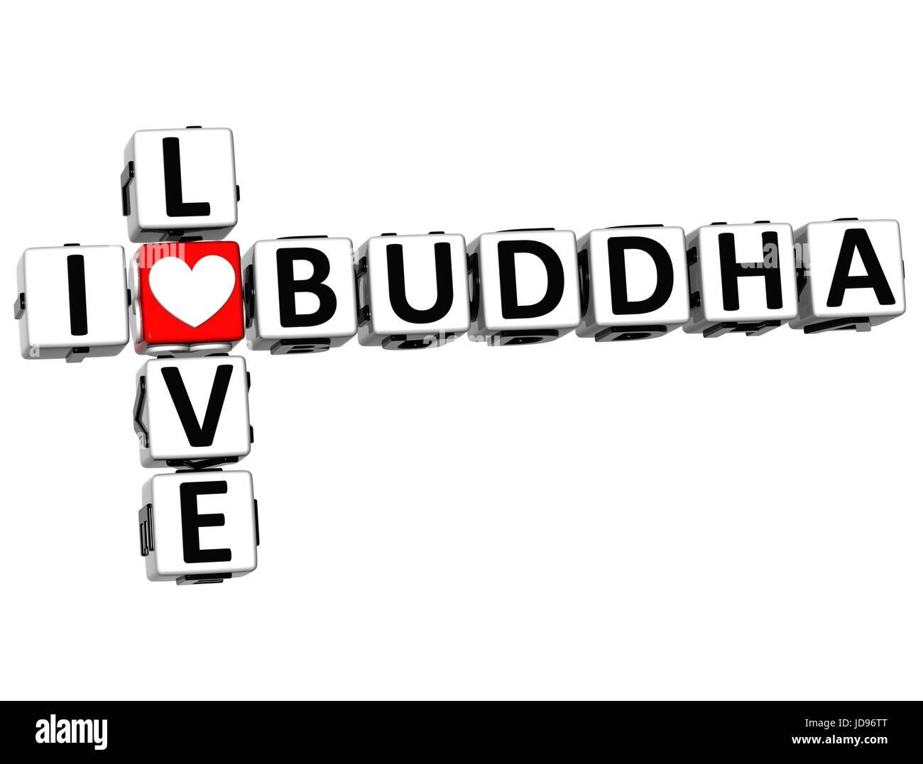 3d Ich Liebe Buddha Kreuzwortratsel Auf Weissem Hintergrund Stockfoto