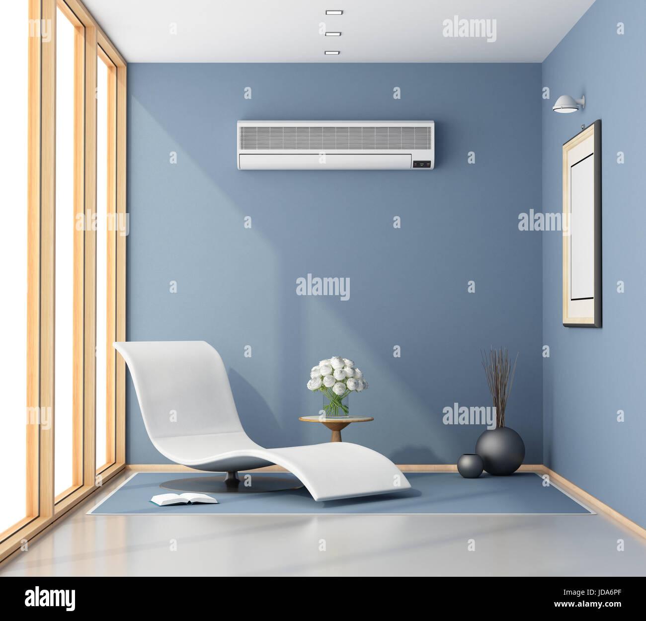3d Rendering Blue Room Window Stockfotos & 3d Rendering Blue Room ...