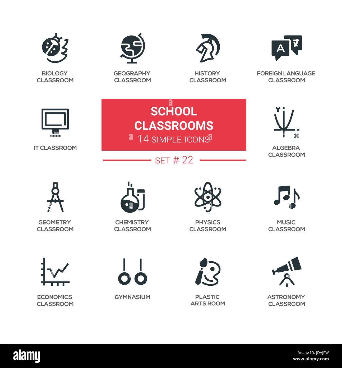 Klassenzimmer - moderne einfache Symbole, Piktogramme set Vektor ...