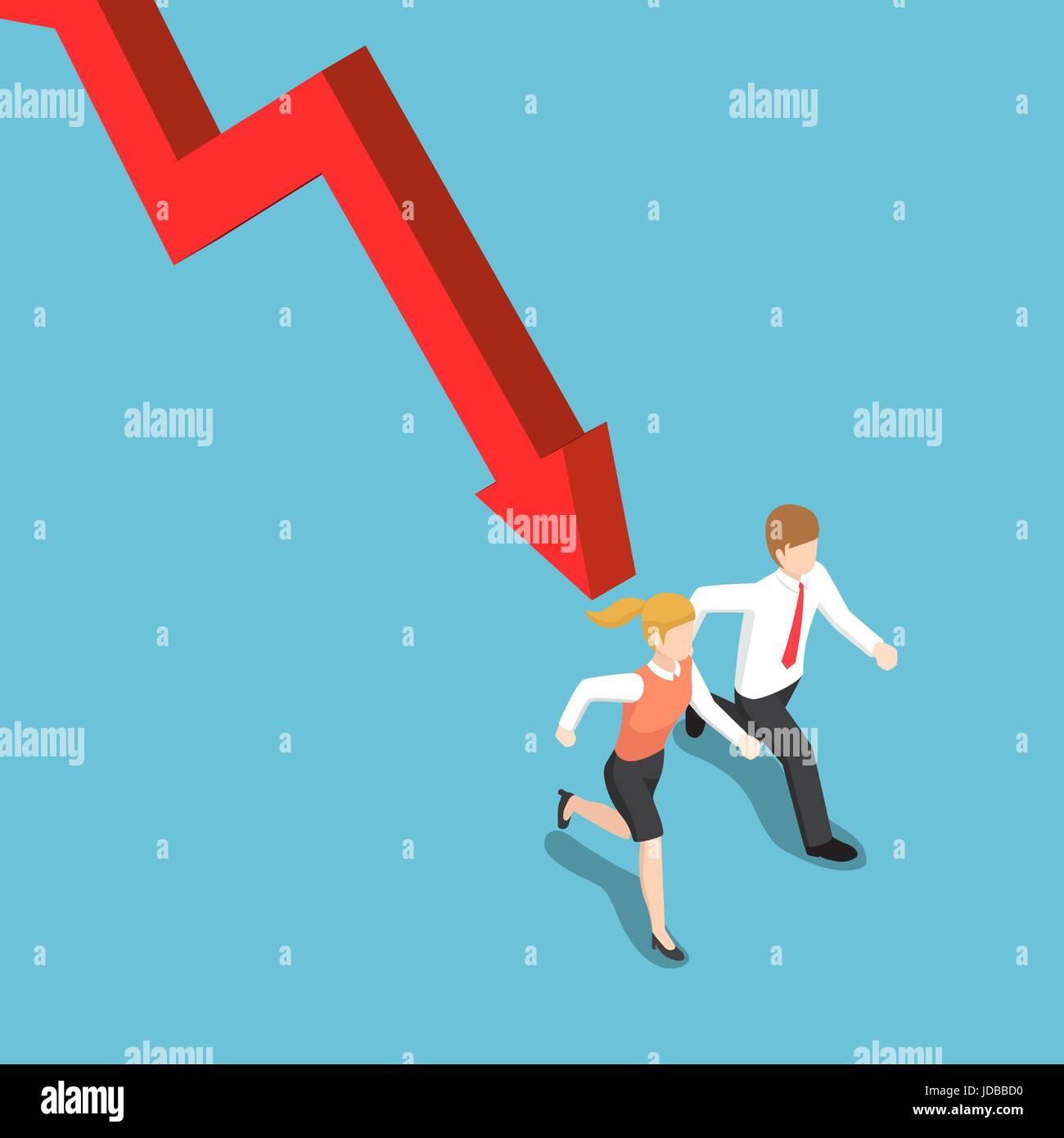 Flache 3d isometrische Geschäftsmann und Geschäftsfrau Runaway von fallenden Graph. Finanzkrise-Konzept. Stockbild