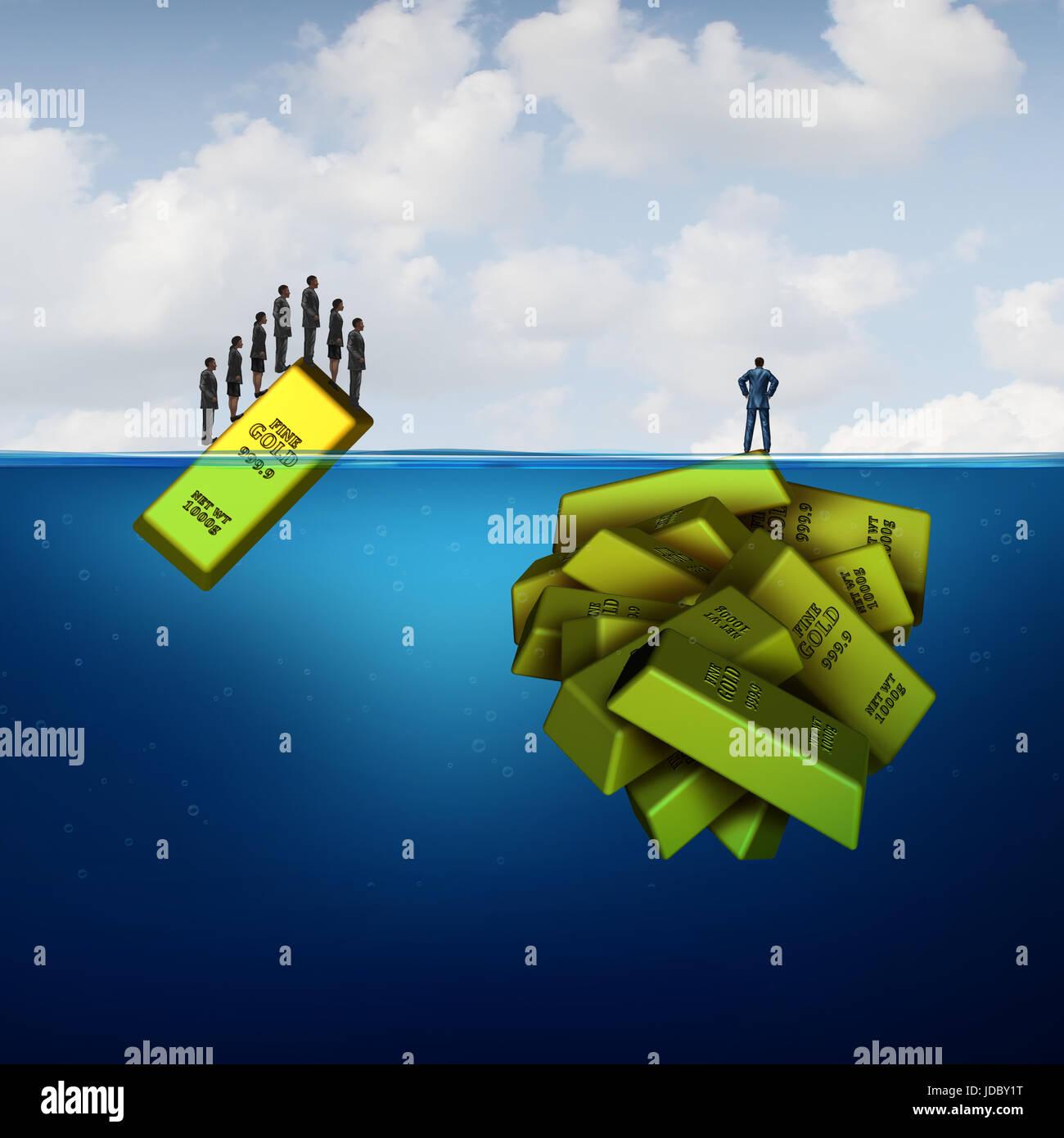 Vision zu investieren und verborgenen Reichtum Gelegenheit Geschäftskonzept als intelligente Finanzinvestor Stockbild