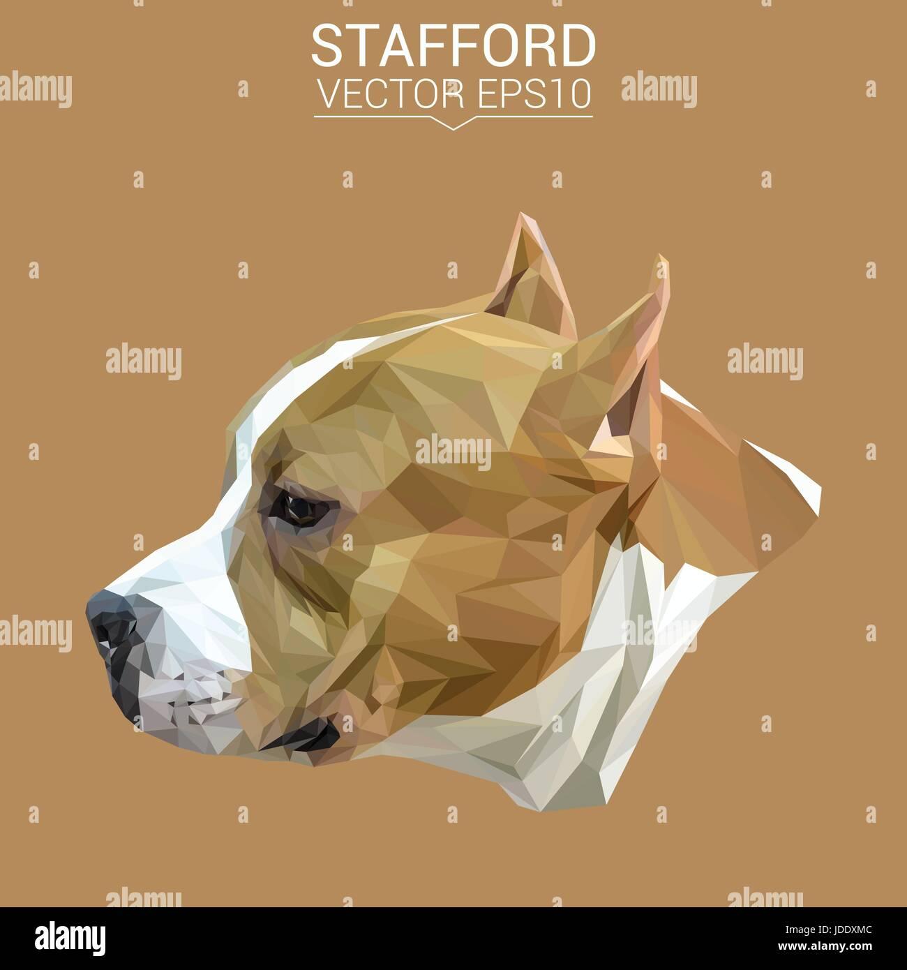 Amerikanische Terrier Hund Tier low-Poly Design Vektor-Illustration. Stockbild