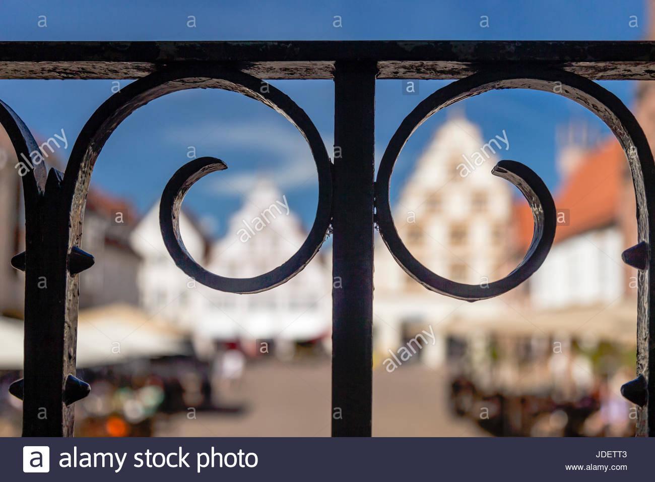Lemgo Altstadt Zentrum Markt Square Verzierten Geländer Gestaltung