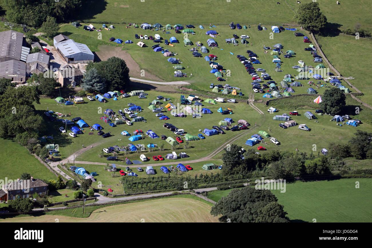 Luftaufnahme des Catgill Campingplatz, Bolton Abbey, Skipton, Yorkshire, Großbritannien Stockbild