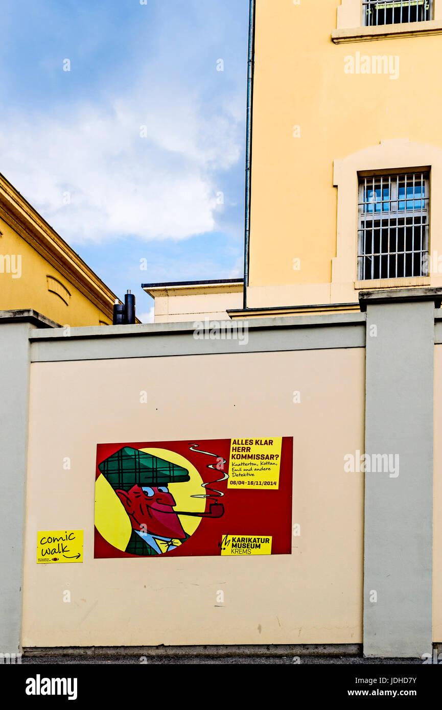 Karikaturmuseum Krems, Wachau, Niederösterreich; Karikatur Museum, Krems, Wachau Österreich Stockfoto