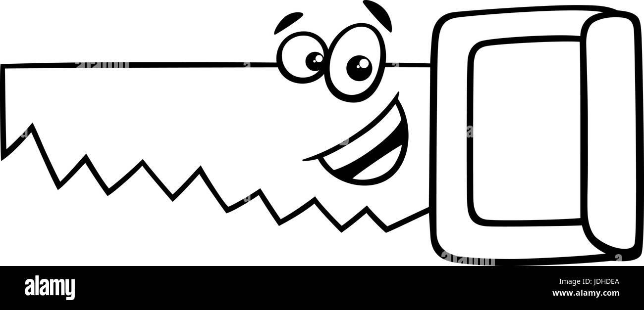 Schwarz Weiß Cartoon Illustration Des Holzes Sah Werkzeug