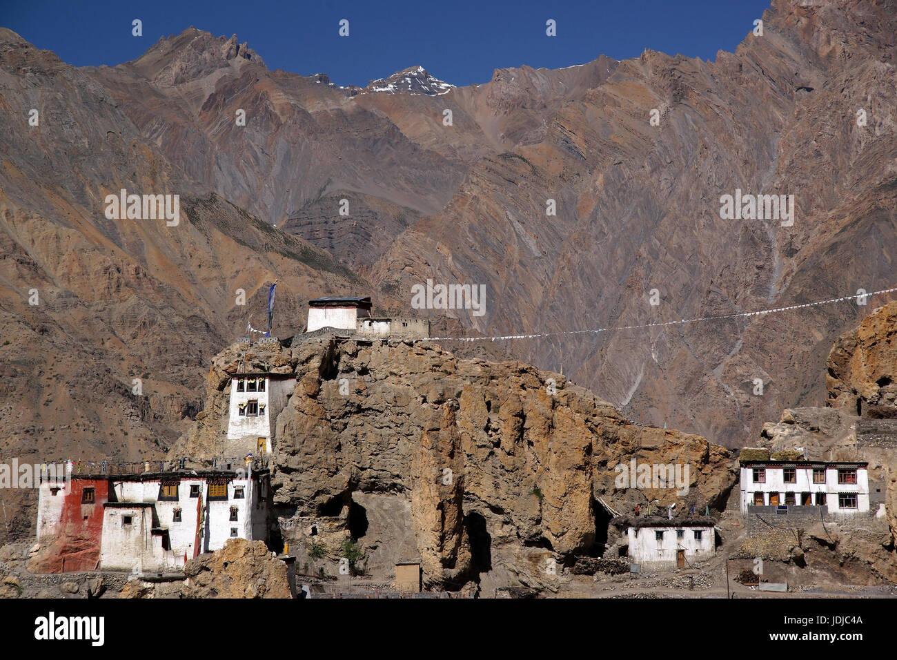 Asien, Indien, Nord-Indien, Kreuzgang des Dankar in Spiti, Asien, Indien, Nordindien, Kloster Dankar in Spiti, Stockbild