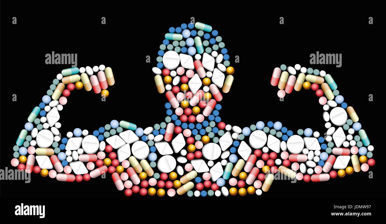 Sport-doping, anabole Medikamente, Pillen und Kapseln - Form von einem männlichen muskulösen Oberkörper Stockbild