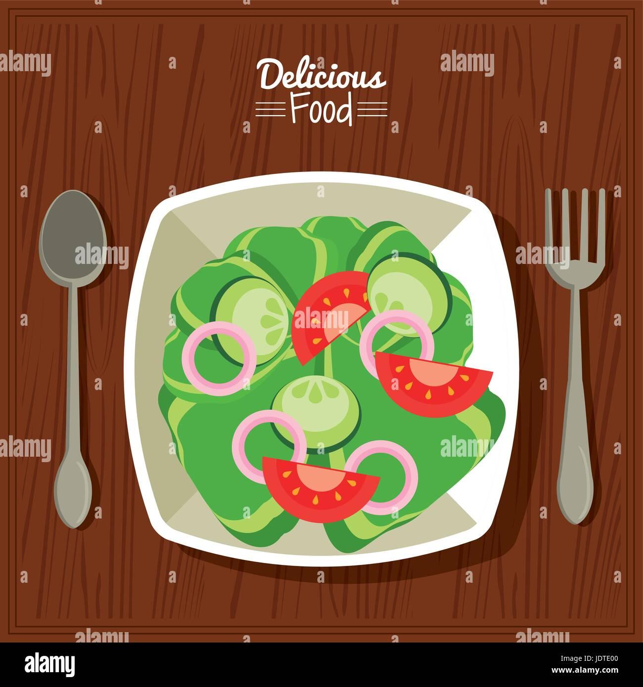Poster Essen Küche Tabellenhintergrund und Besteck mit Schüssel ...