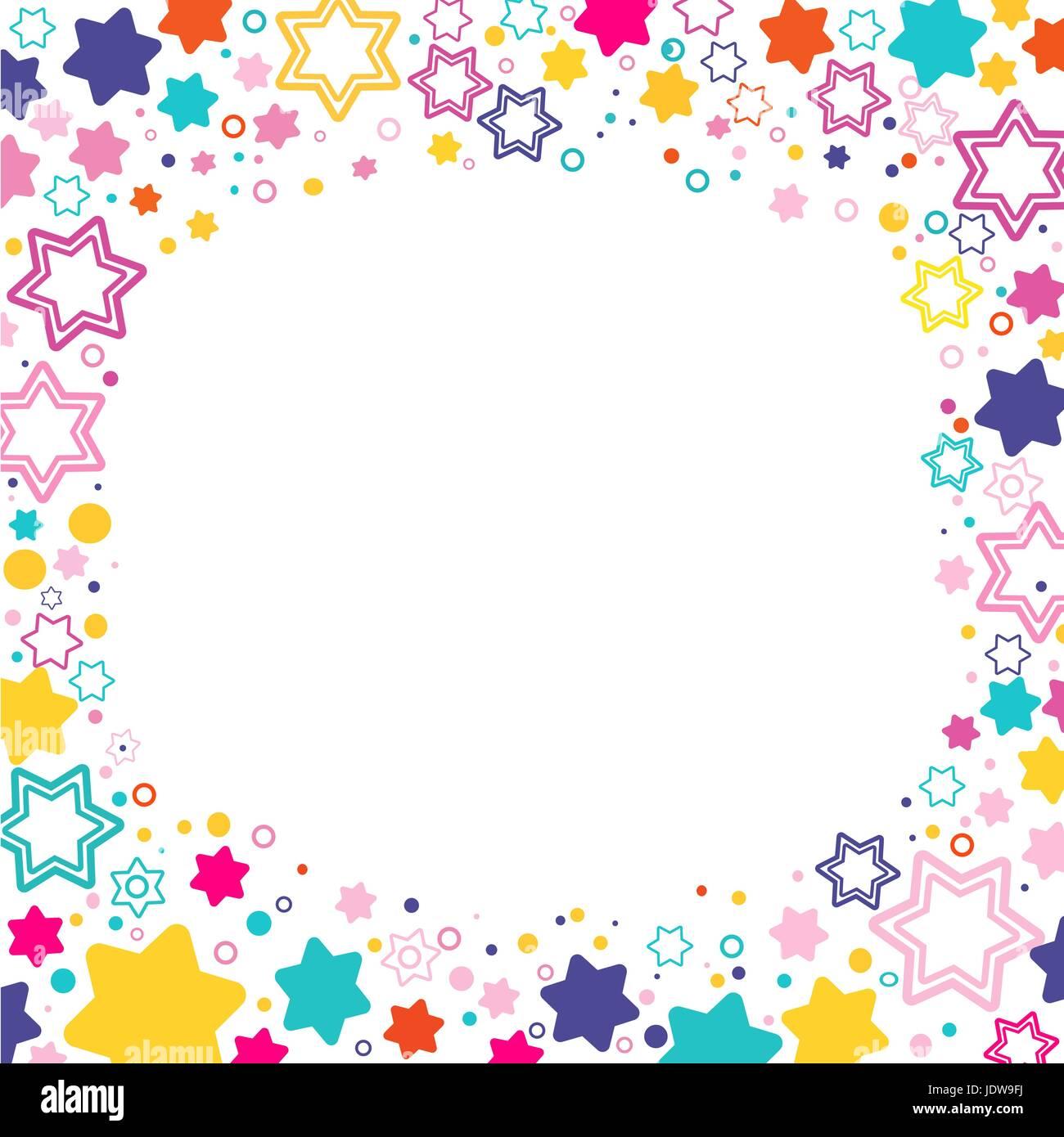 Vektor quadratischer Rahmen mit farbigen Sternen David auf dem ...