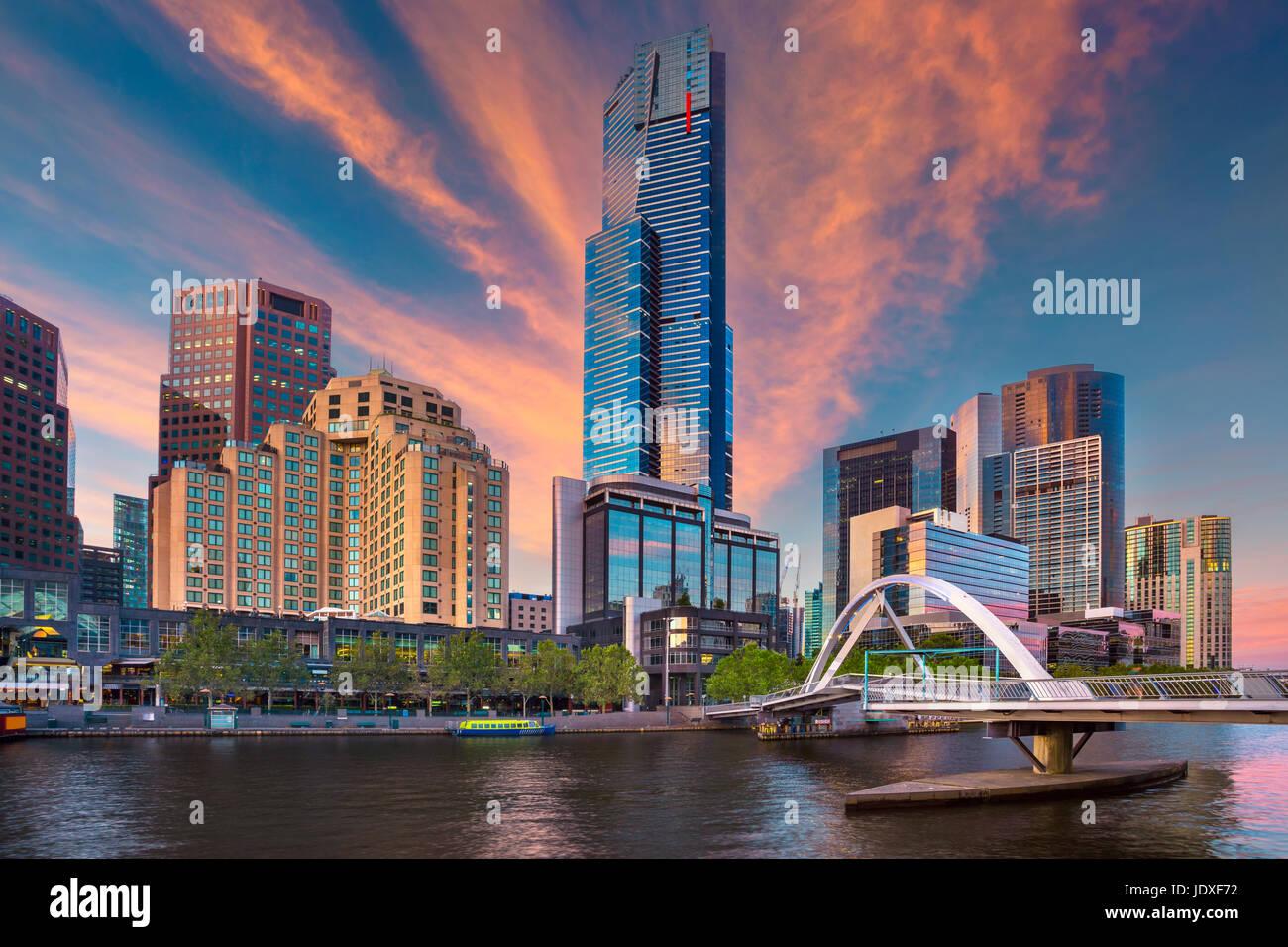 Stadt von Melbourne. Stadtbild Bild von Melbourne während Sommer Sonnenaufgang. Stockbild