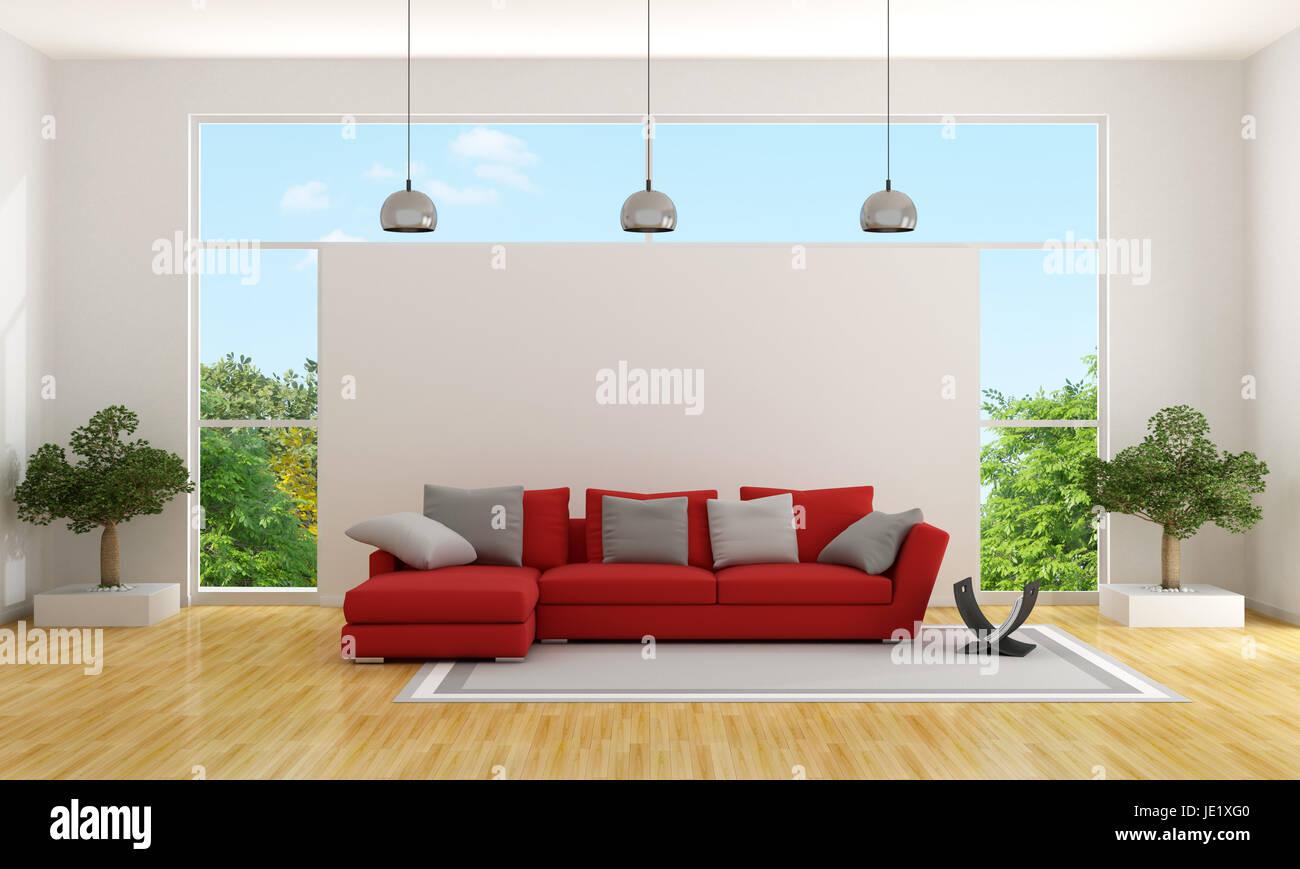 Zeitgenössische Wohnzimmer mit roten Couch und großem Fenster ...
