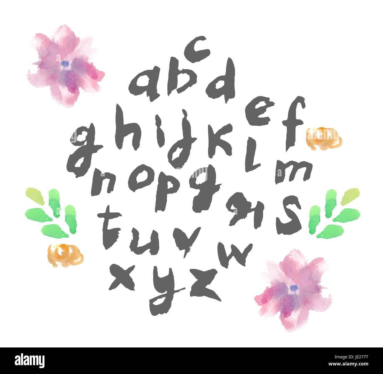 Hand Drawn Floral Alphabet Design Stockfotos & Hand Drawn Floral ...