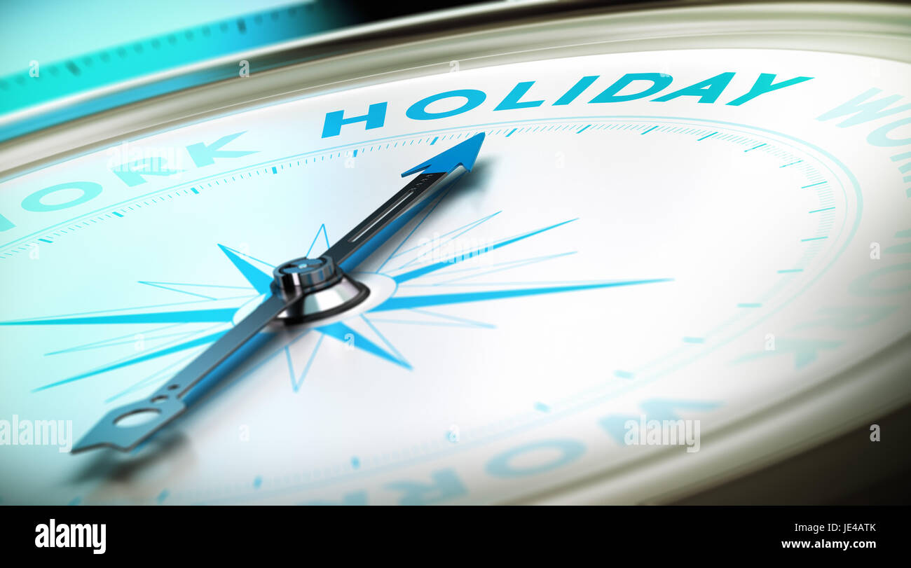 Kompass mit Nadel zeigt das Wort Urlaub mit Blur-Effekt sowie blauen und schwarzen Tönen. Konzeptbild zur Veranschaulichung Stockfoto