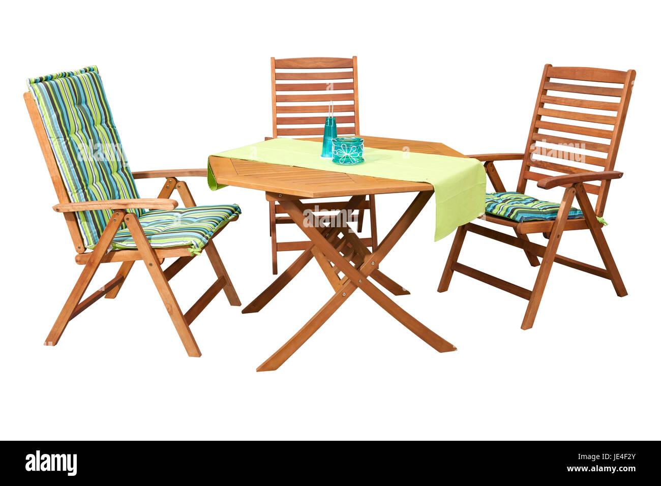 Set aus Holz Gartenmöbel - Tisch und 3 Stühlen, isoliert auf weiß ...