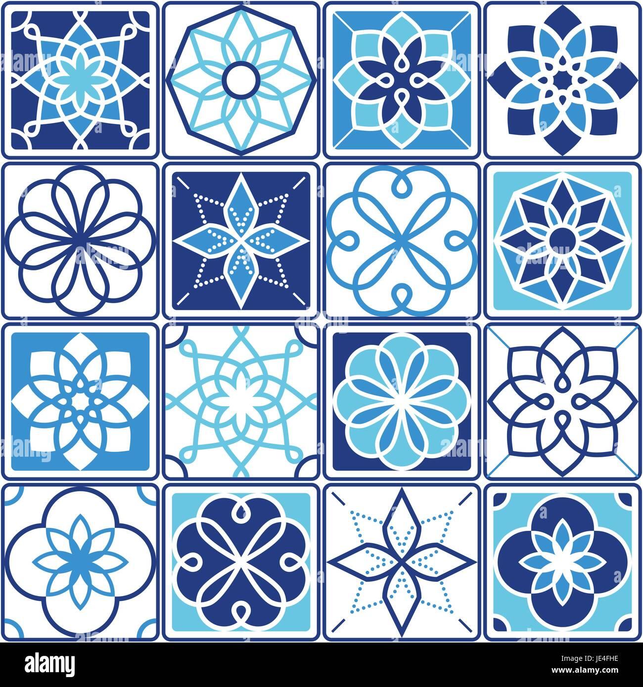 Portugiesischen Azulejo Fliesen Design Nahtlose Geometrische Muster