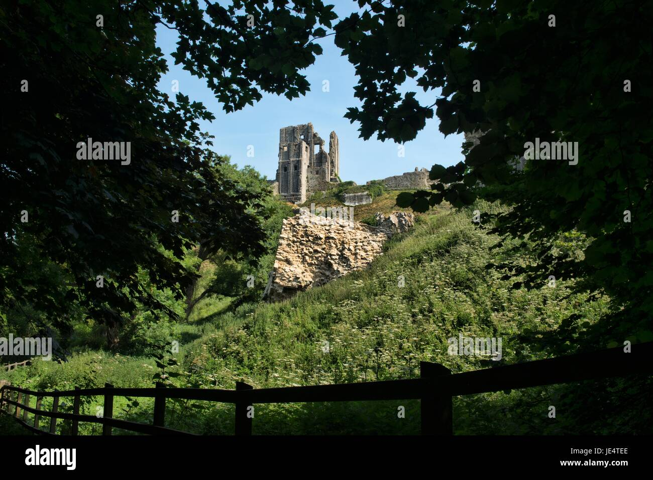 Corfe Castle in der Isle of Purbeck Stockbild
