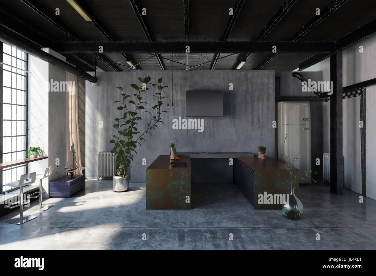 Kleine Kochnische in einem industriellen Dachgeschossausbau mit u ...