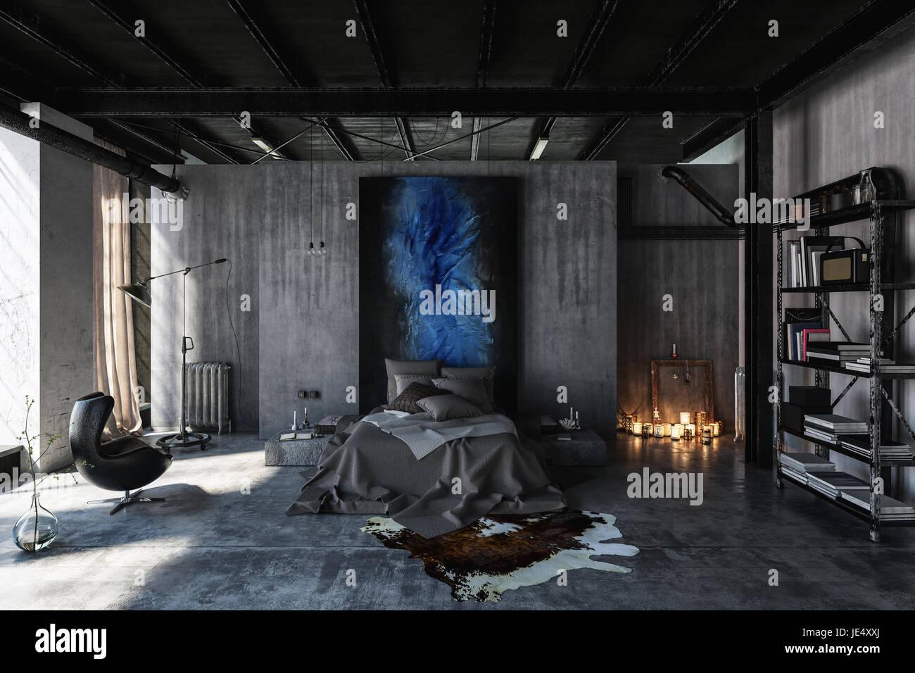 schlafzimmer im modernen schwarzen und grauen interior design im loft stil mit beton w nde und. Black Bedroom Furniture Sets. Home Design Ideas