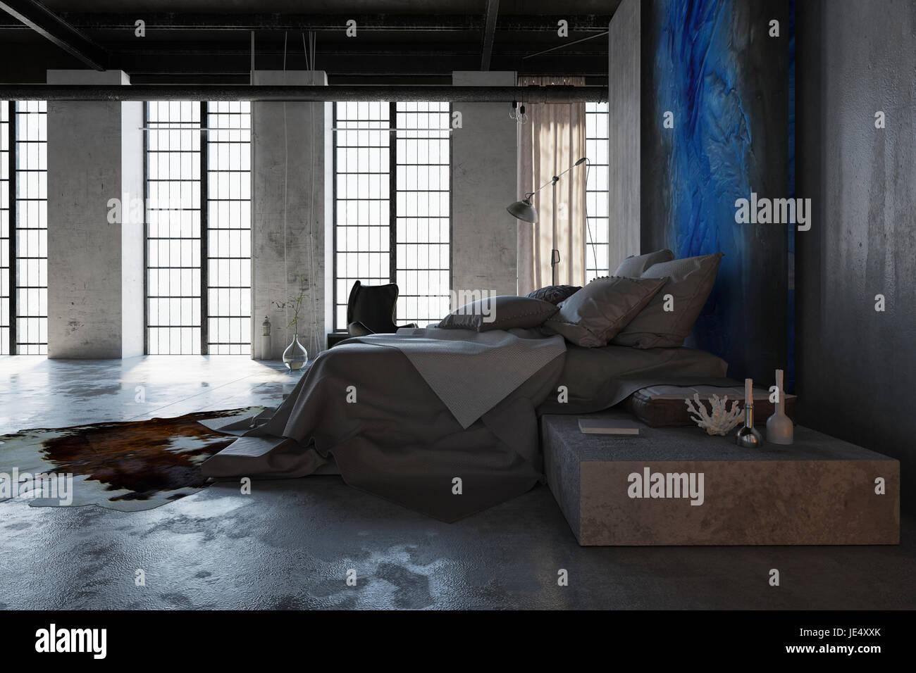 Konzept der Loft-Schlafzimmer Innenarchitektur mit Betonboden ...