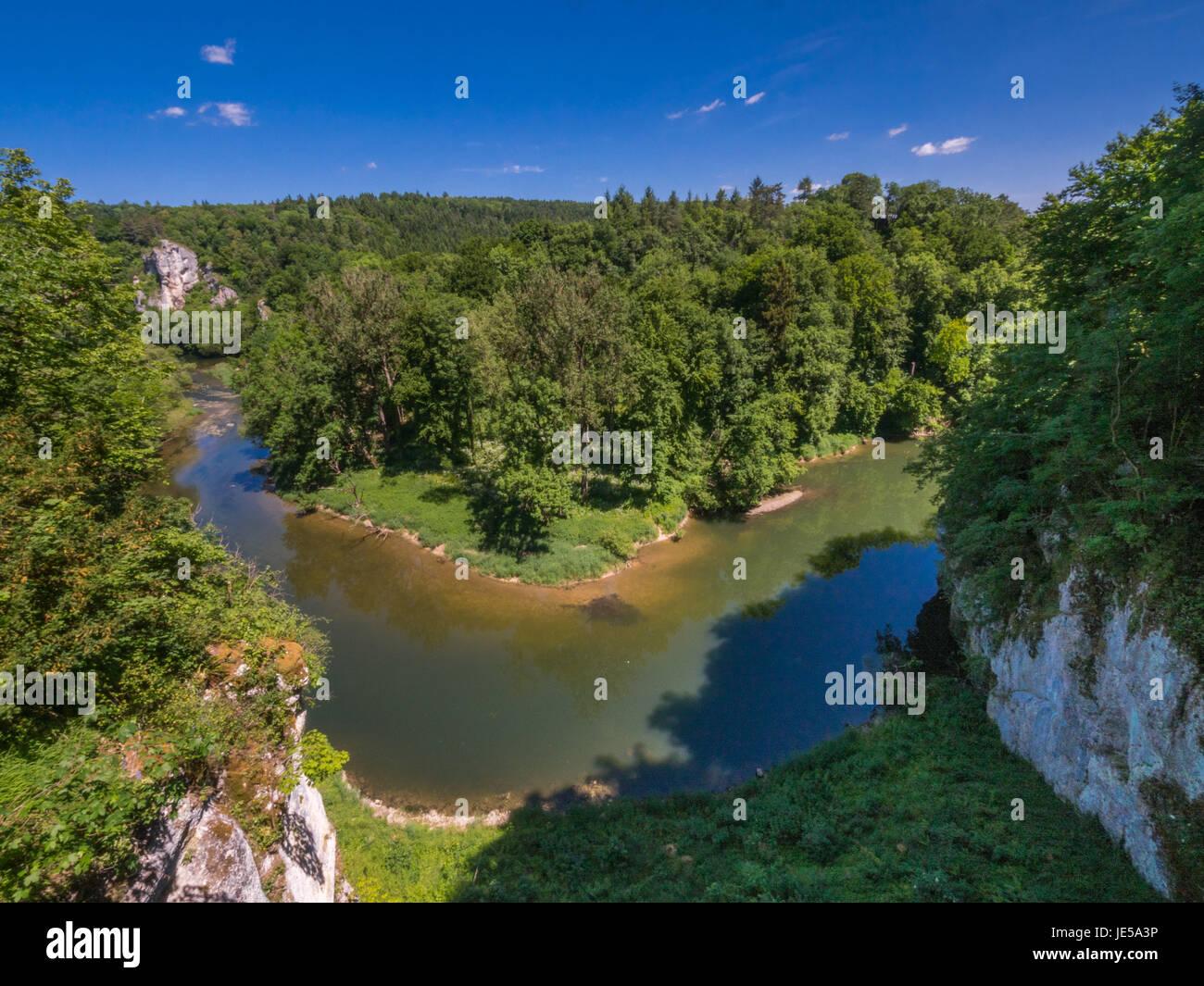 Donau in der Nähe von Inzigkofen im oberen Donautal, Schwäbische Alb, Baden Württemberg, Deutschland, Stockbild