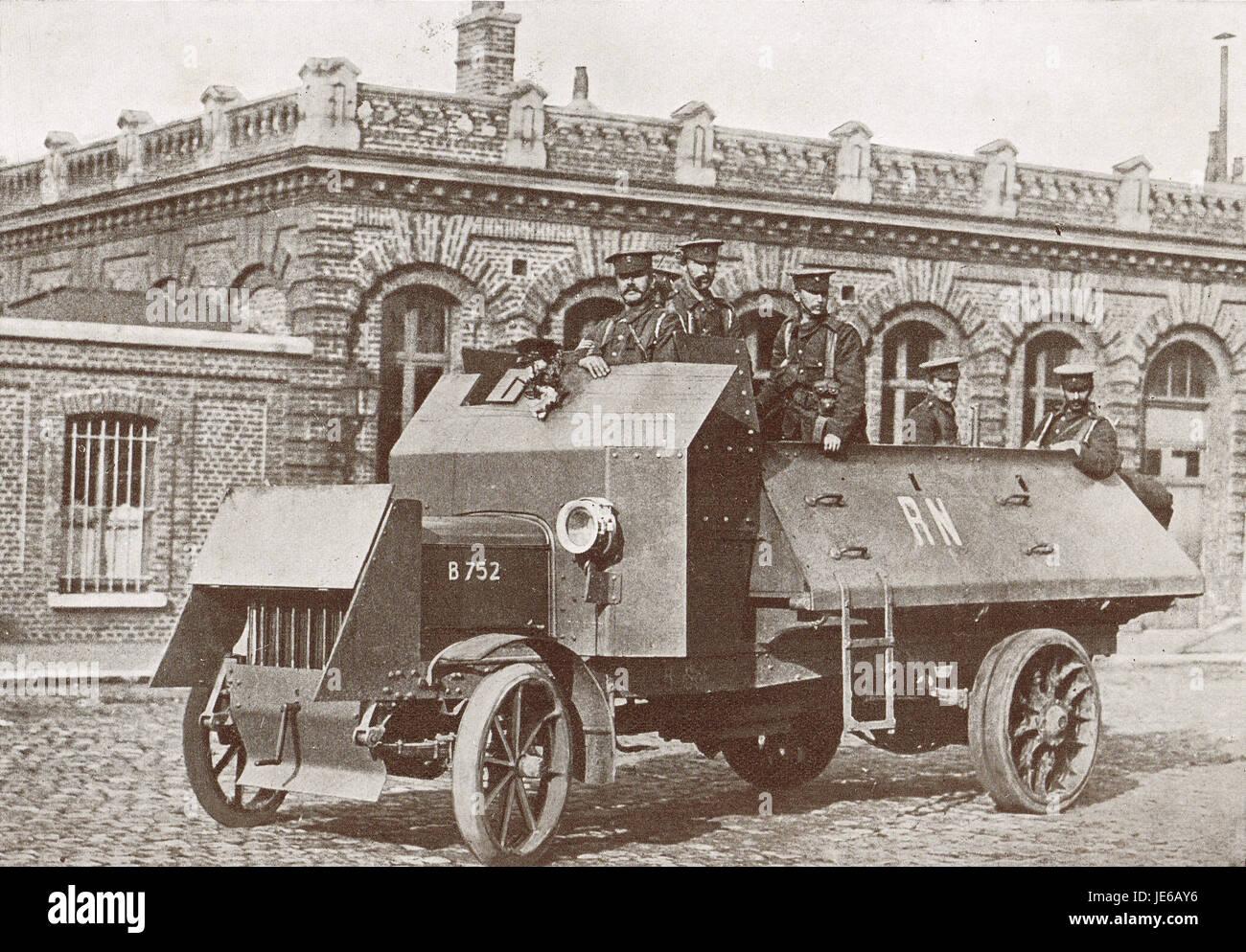 Britische gepanzerte Pkw, WW 1 1914 Stockbild