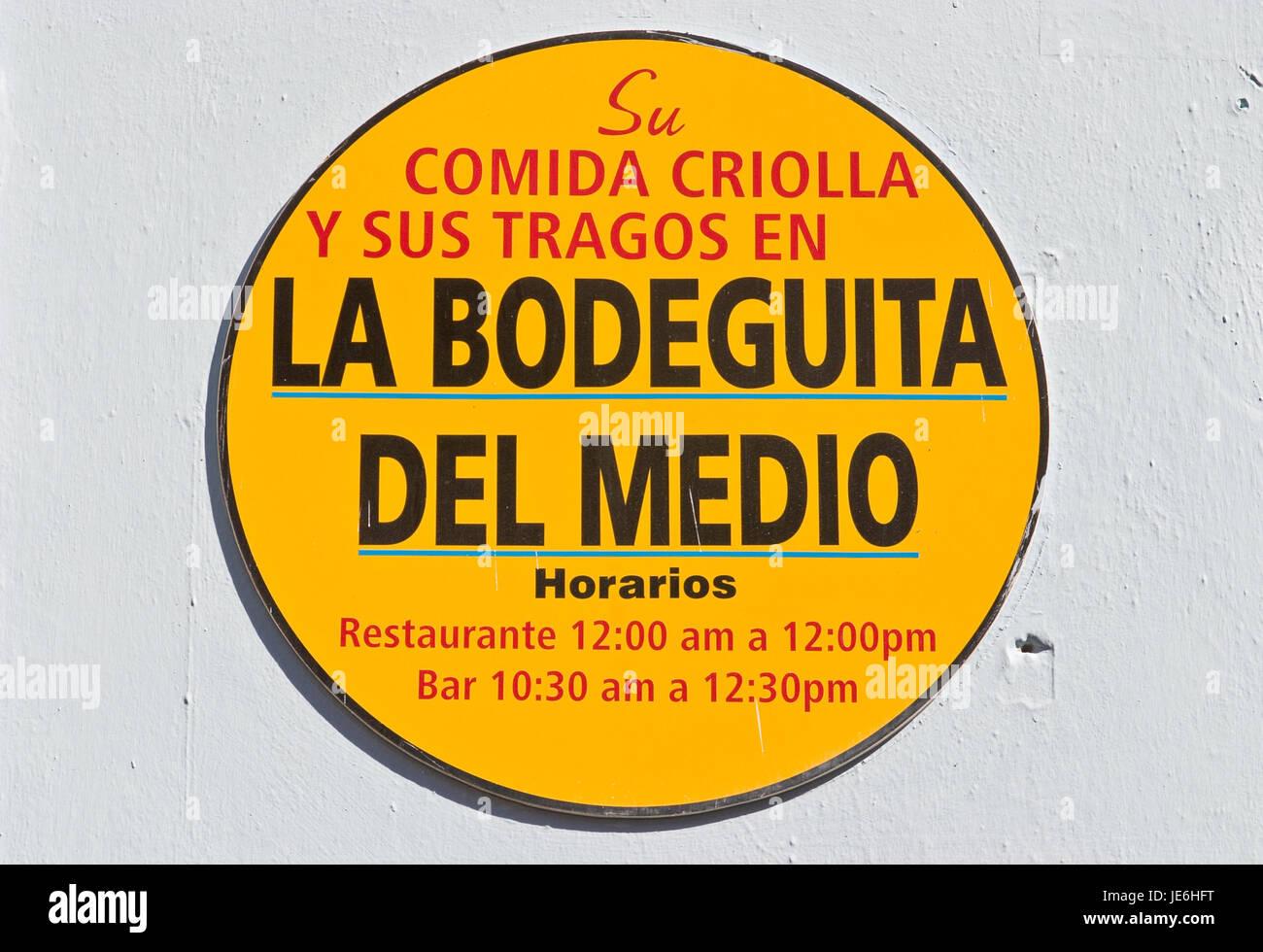 Logo der La Bodeguita Del Medio ist die berühmteste Bar in Kuba befindet sich im alten Havana_ Stockbild