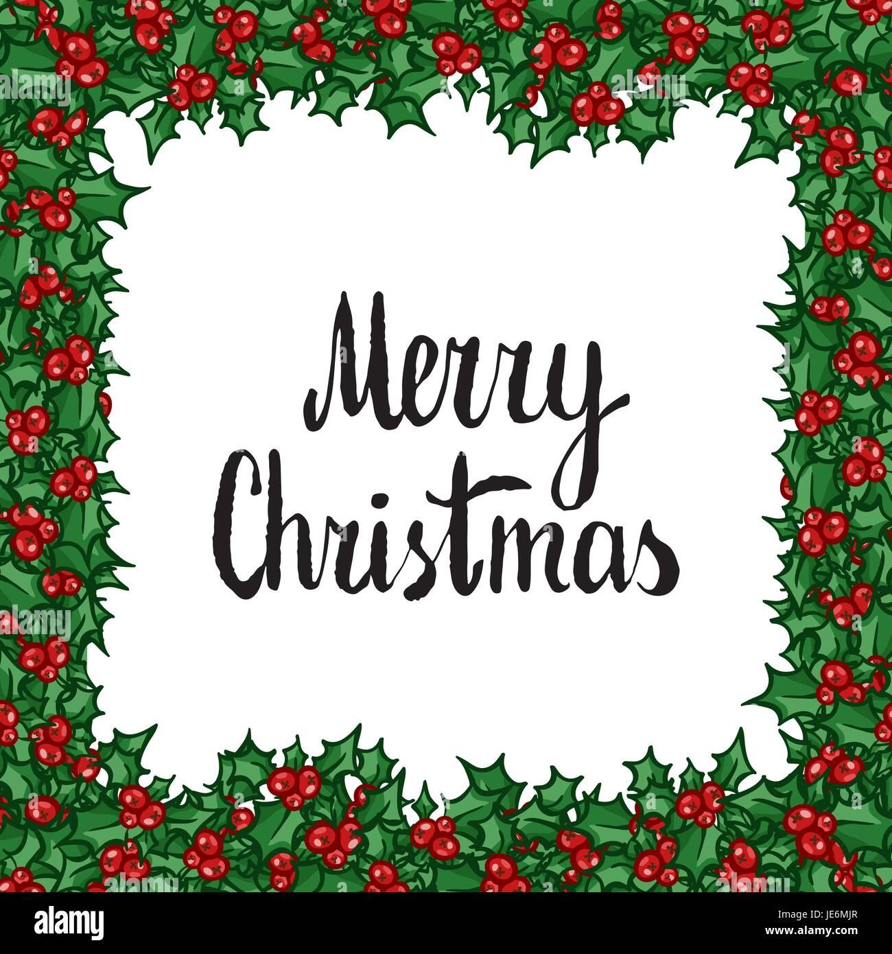 Frohe Weihnachten-Schriftzug mit Holly. Hand gezeichnete Vektor ...