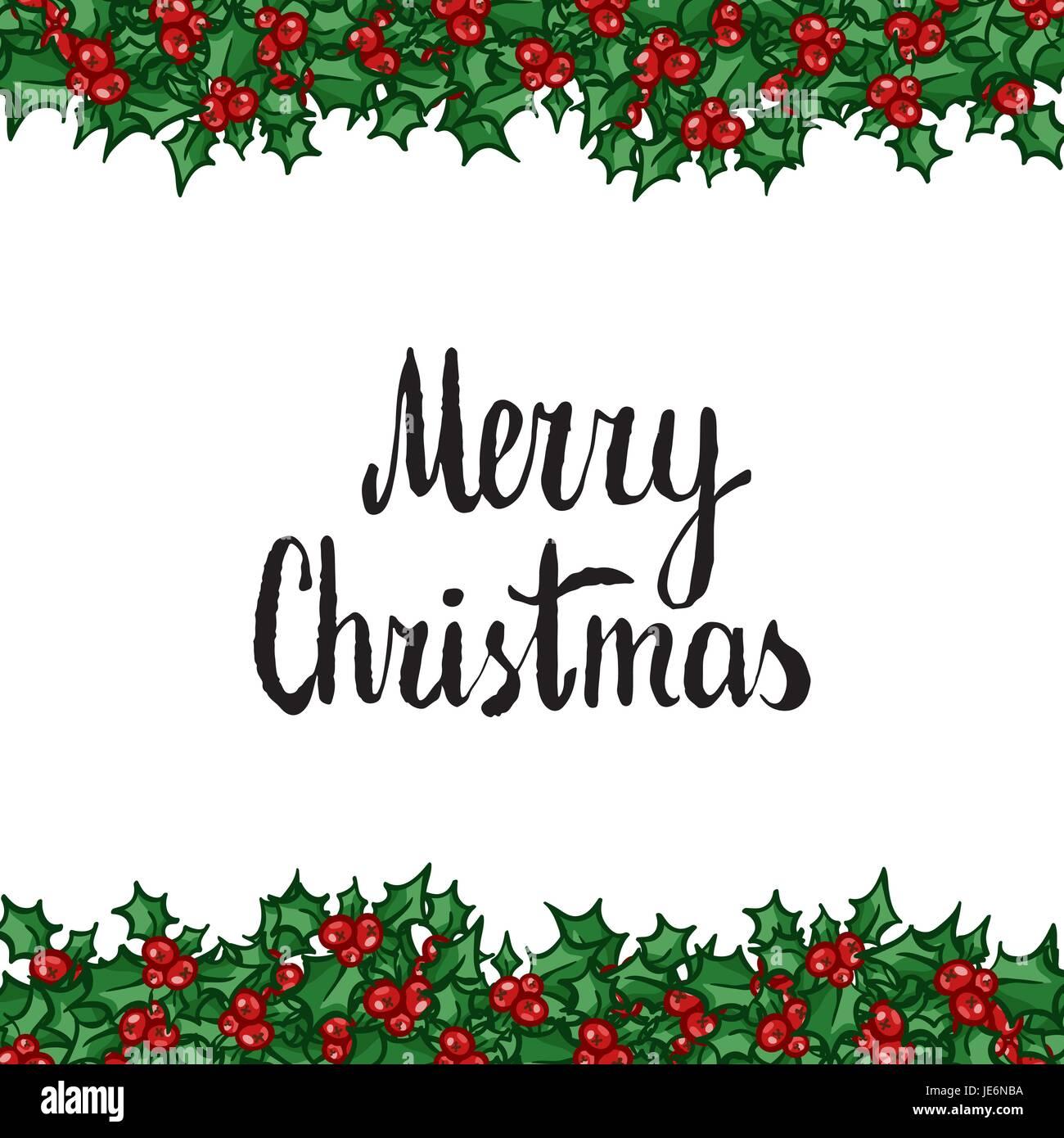 Weihnachten Clipart Bilder.Frohe Weihnachten Schriftzug Mit Holly Hand Gezeichnete Vektor