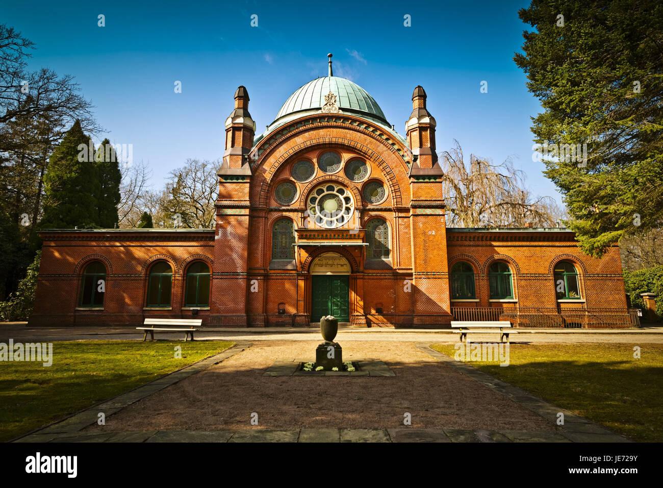 Deutschland, Hamburg, Dorf Ohls, Park-Friedhof, Synagoge, Friedhof, 1883, Gräberfeld, Gebäude, Erinnerung, Stockbild