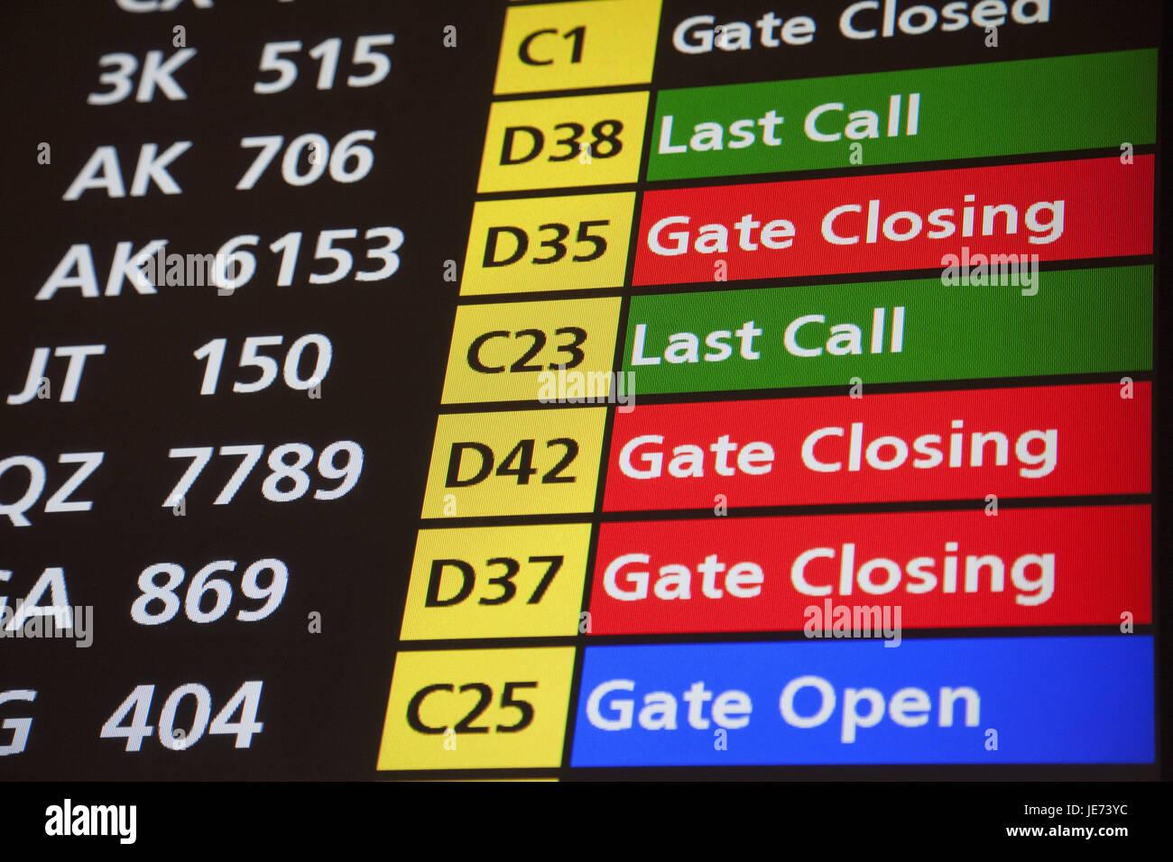 Singapur, Flughafen, Kennzeichen panel, Asien, Start, Informationen, Reisen, Flugreise, Urlaub, niemand, Tourismus, Stockbild