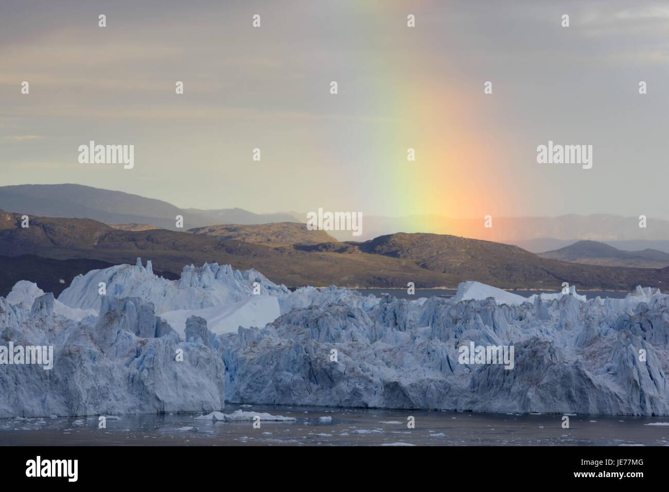 Grönland, Disko-Bucht, Ilulissat, Eis-Fjord, Eisberge, Küstenlandschaft, Regenbogen, Westgrönland, Stockbild