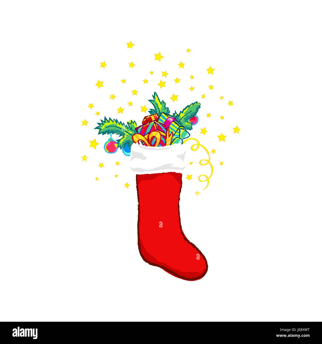 Weihnachts Strumpf Clipart Isoliert Auf Weiss Socke Mit Geschenk