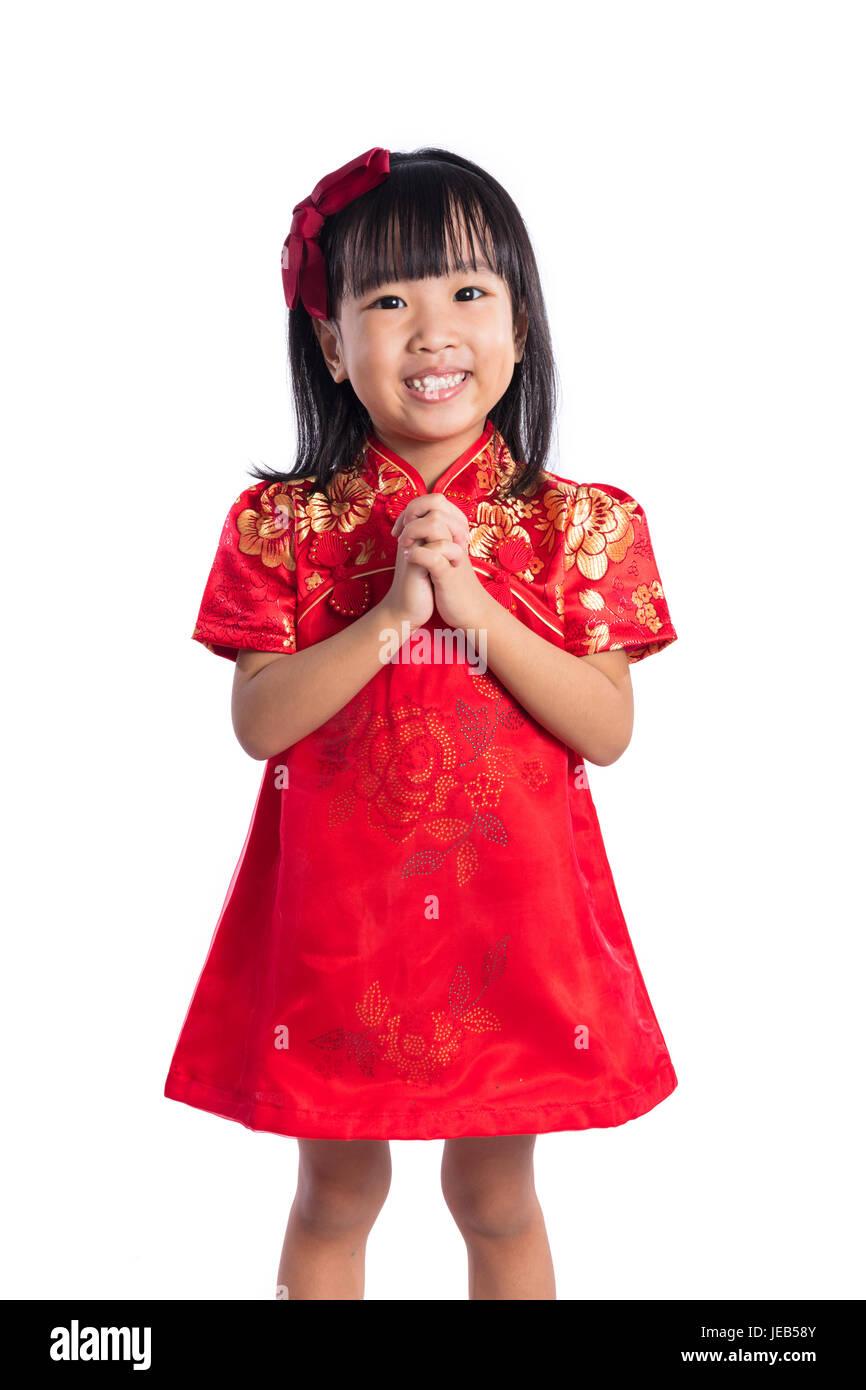 Gerne asiatische chinesische wenig tragen Cheongsam mit Gruß Geste ...