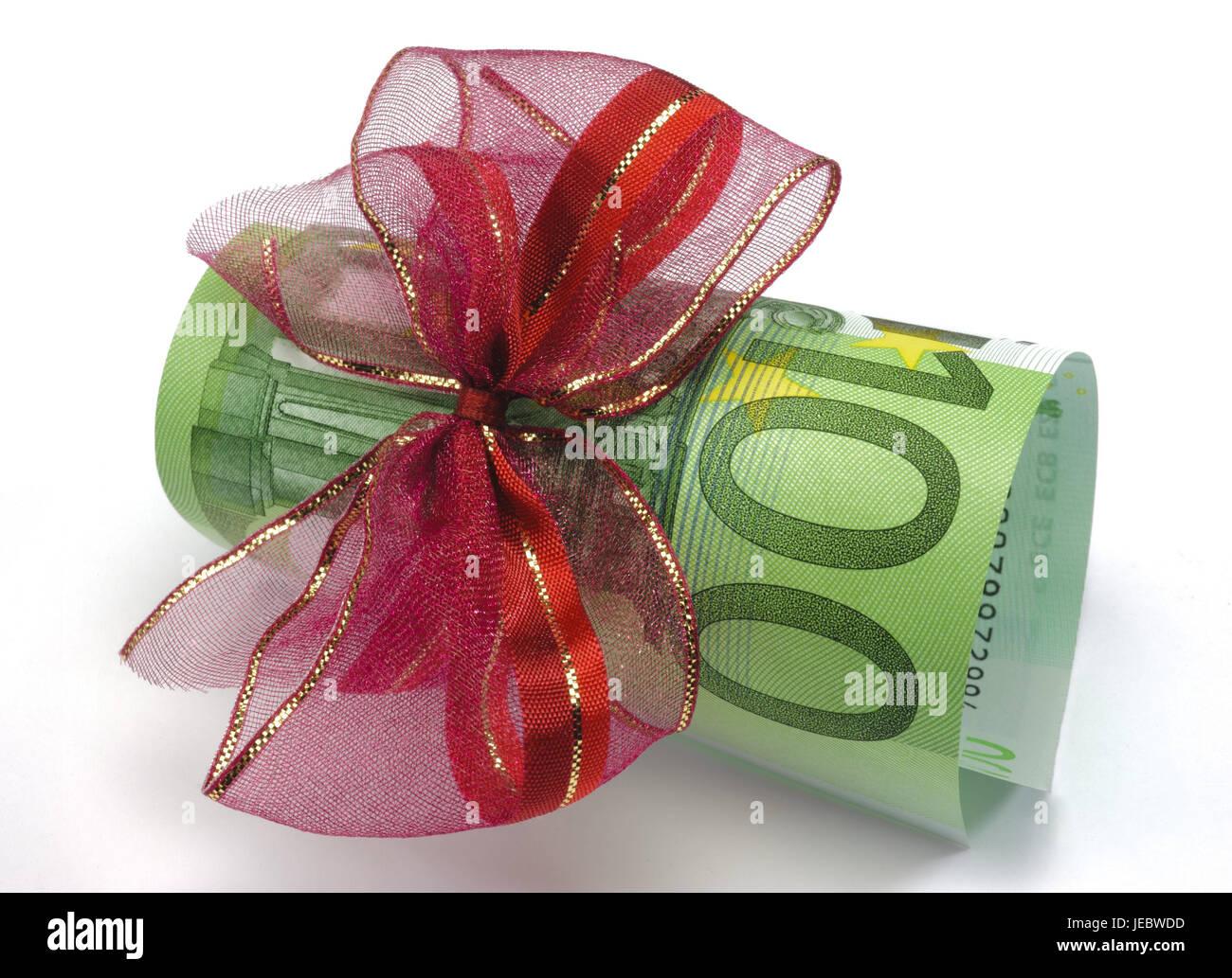 Geschenk des Geldes, Schleife, 100, bank Note, Bargeld, Bonus ...