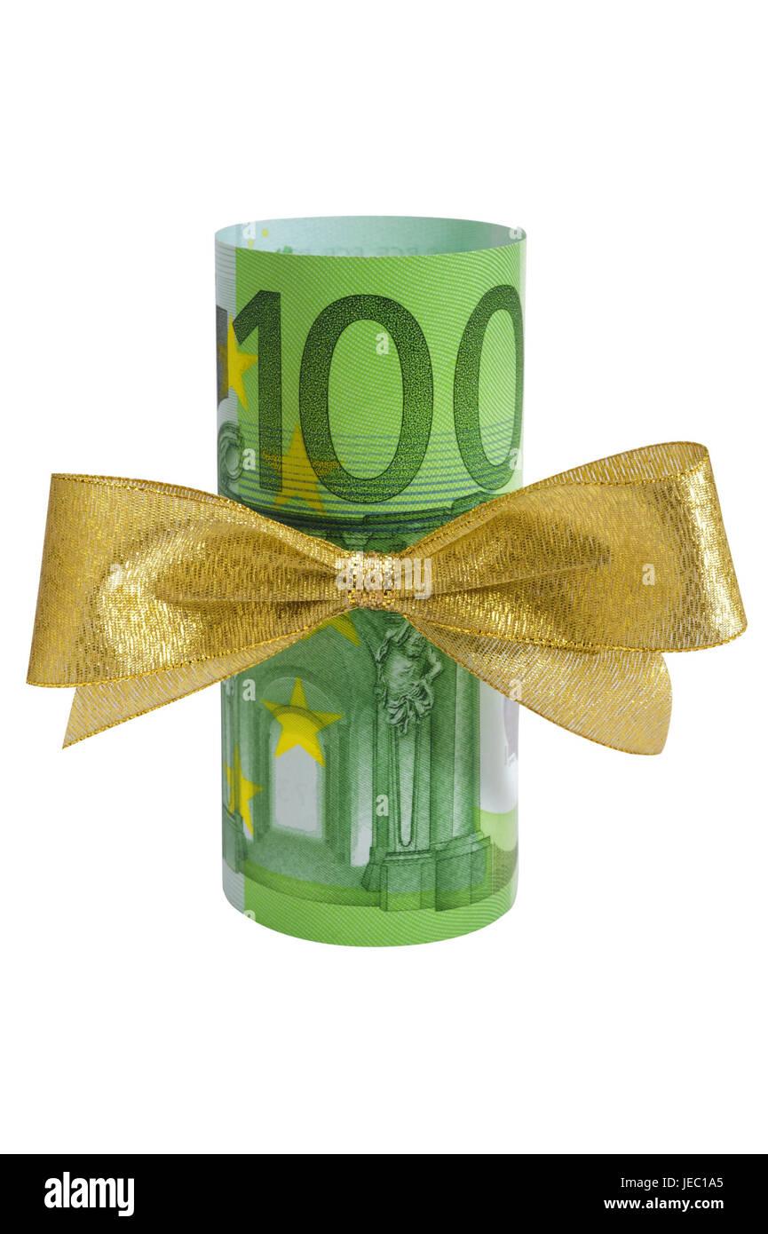 Geldgeschenk, Schleife, 100, Geldschein, Bargeld, Bonus, Einhundert ...
