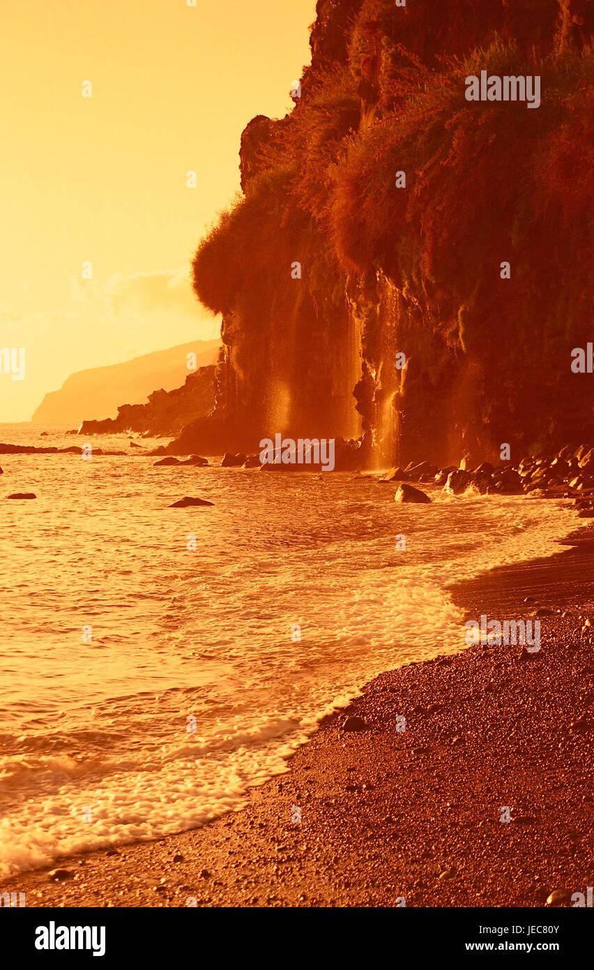 Portugal, Insel Madeira, Ponta Th Sol, Steilküste, Sonnenuntergang, der Atlantik, Küste, Küste von Stockbild