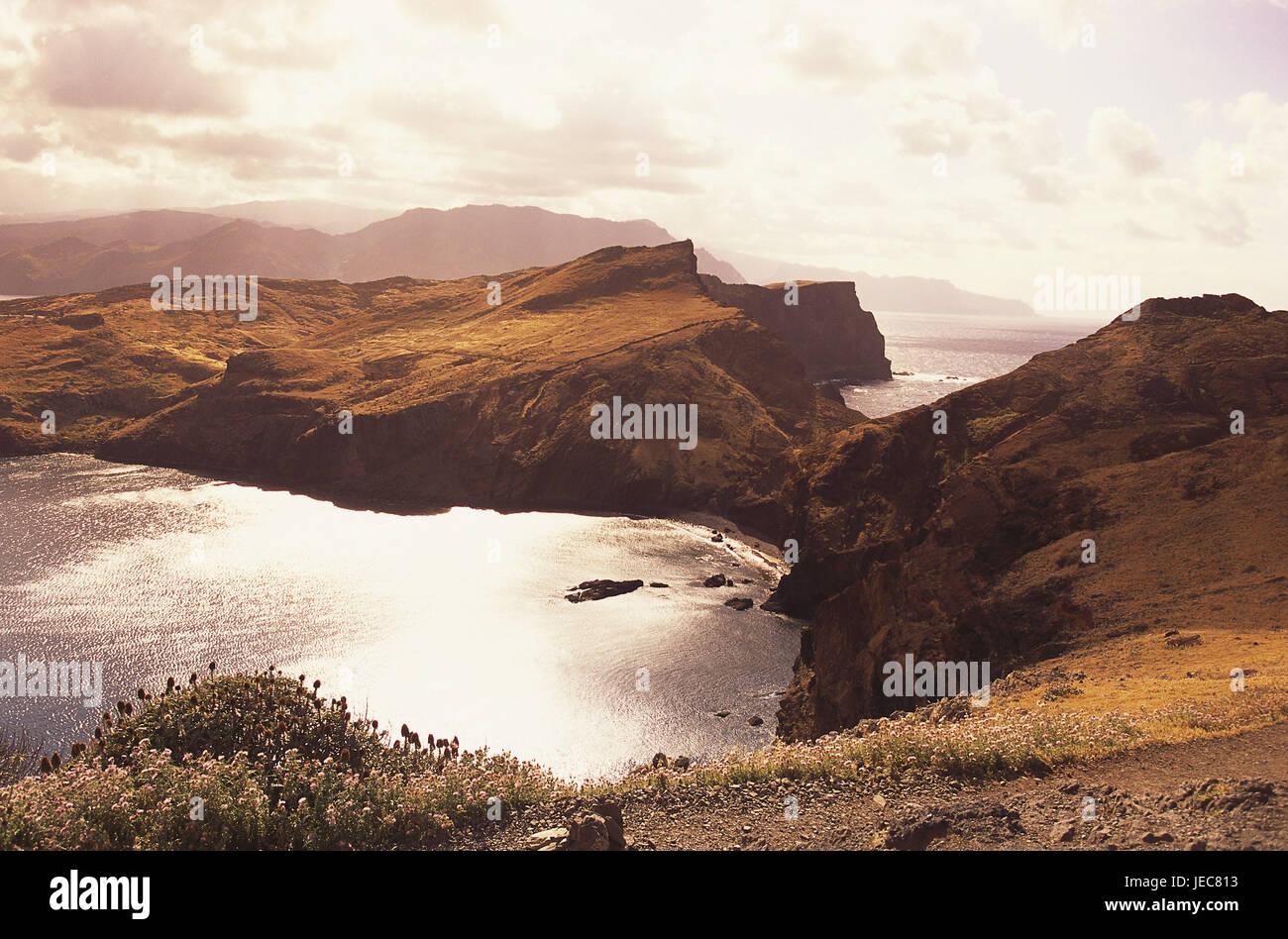 Portugal, Insel Madeira, Ponta de Sao Lourenco, Galle Küste, menschenleer, Sonnenuntergang, Atlantic, Atlantik Stockbild